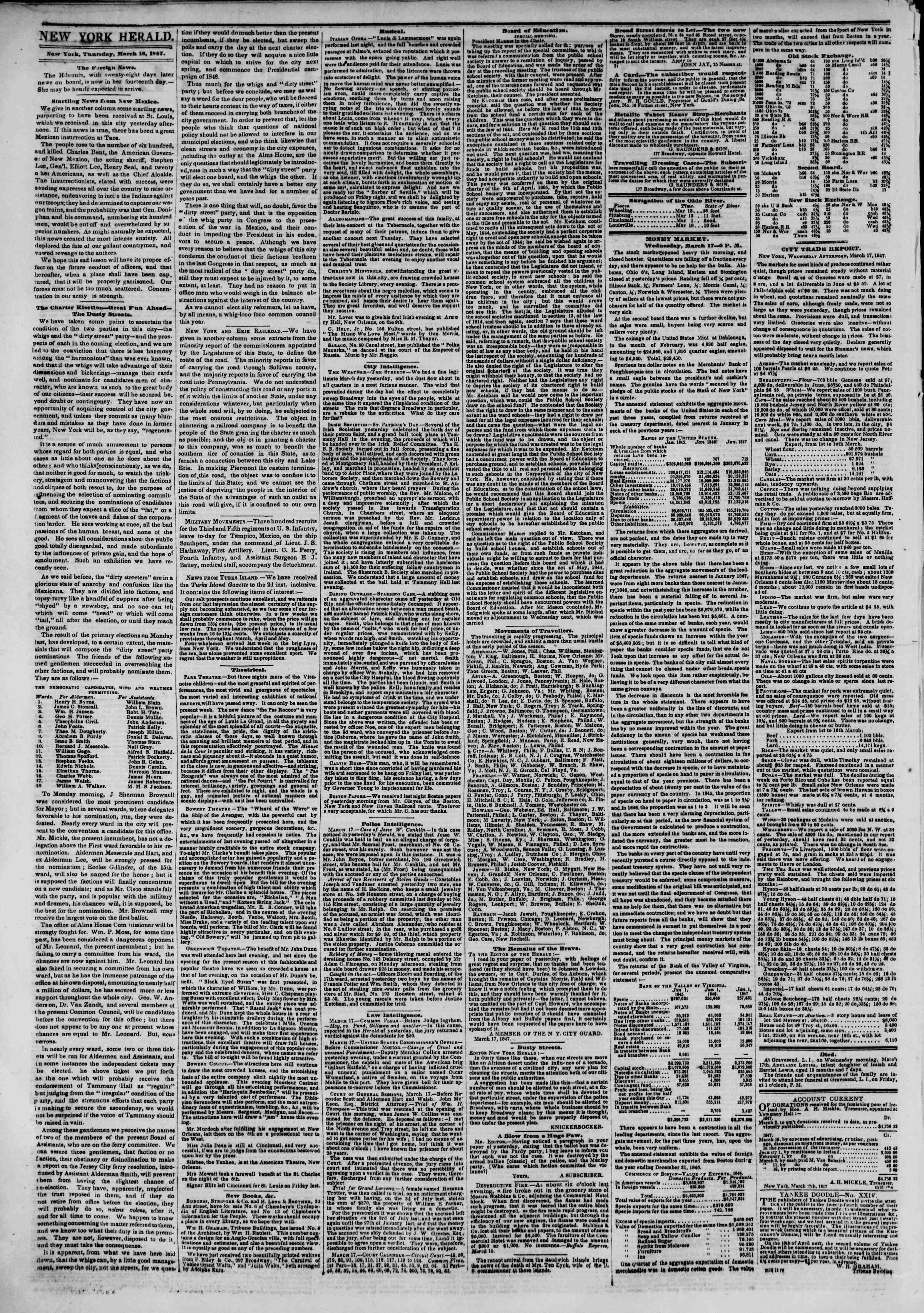 Newspaper of The New York Herald dated March 18, 1847 Page 2