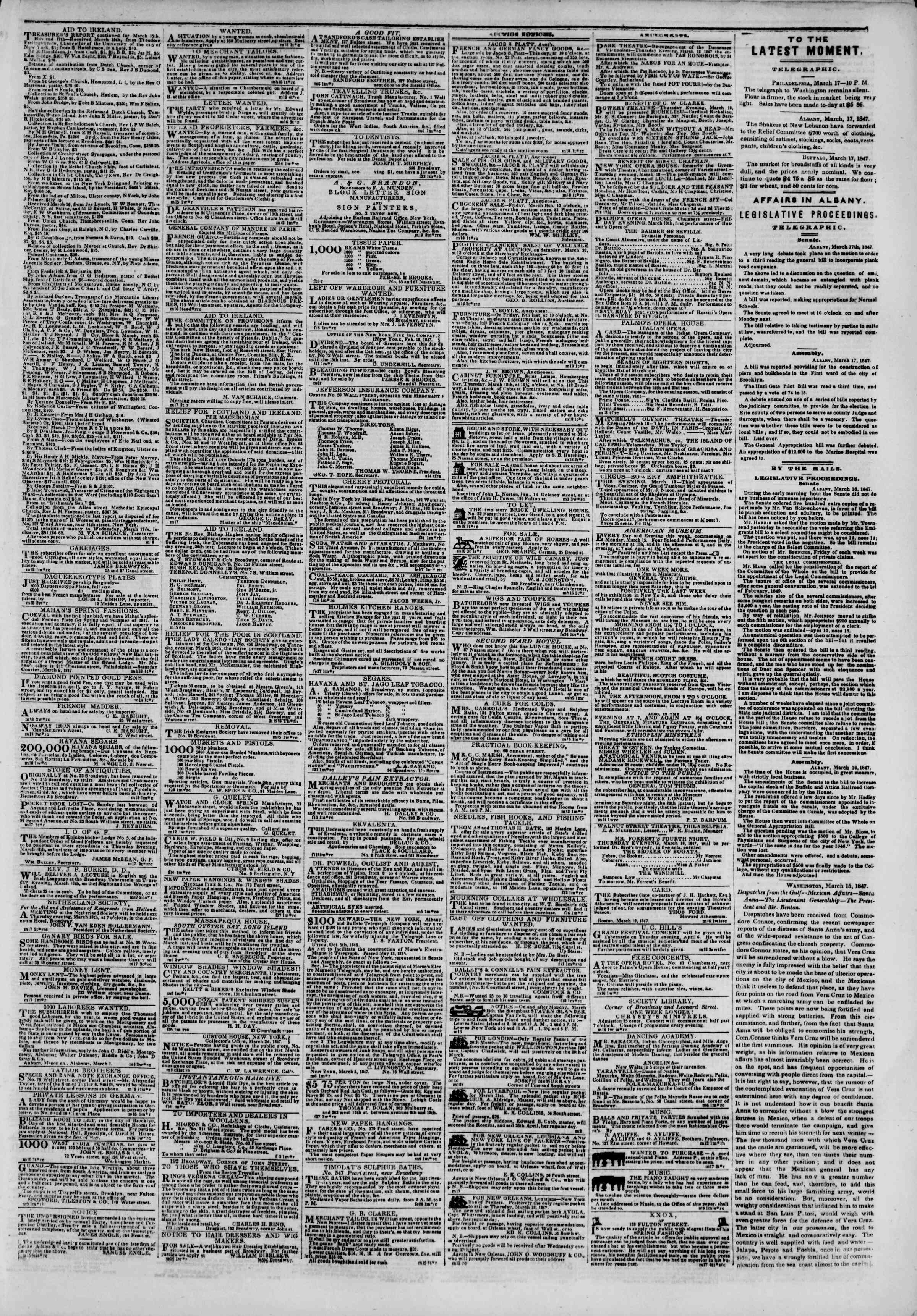 Newspaper of The New York Herald dated March 18, 1847 Page 3