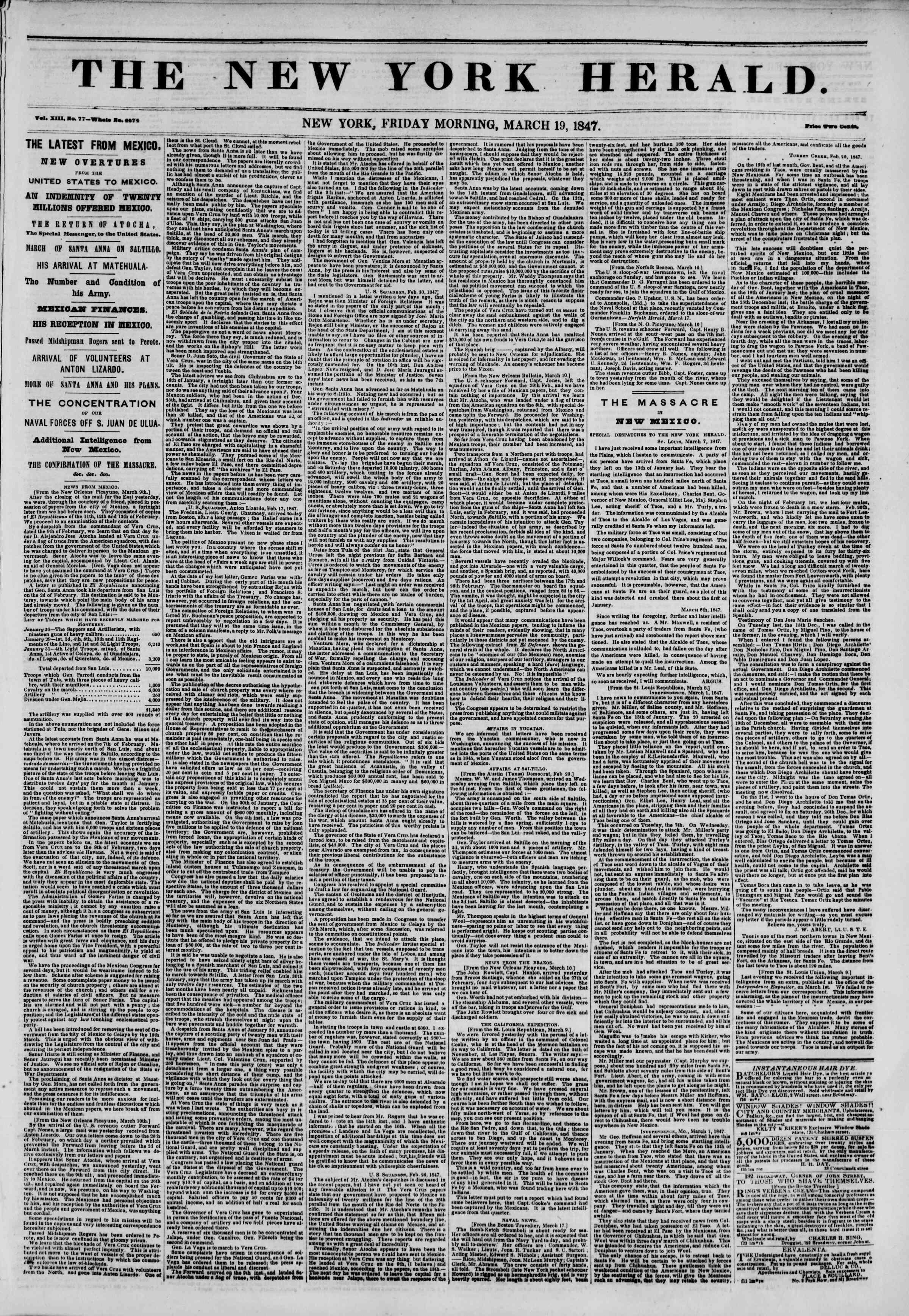 Newspaper of The New York Herald dated March 19, 1847 Page 1