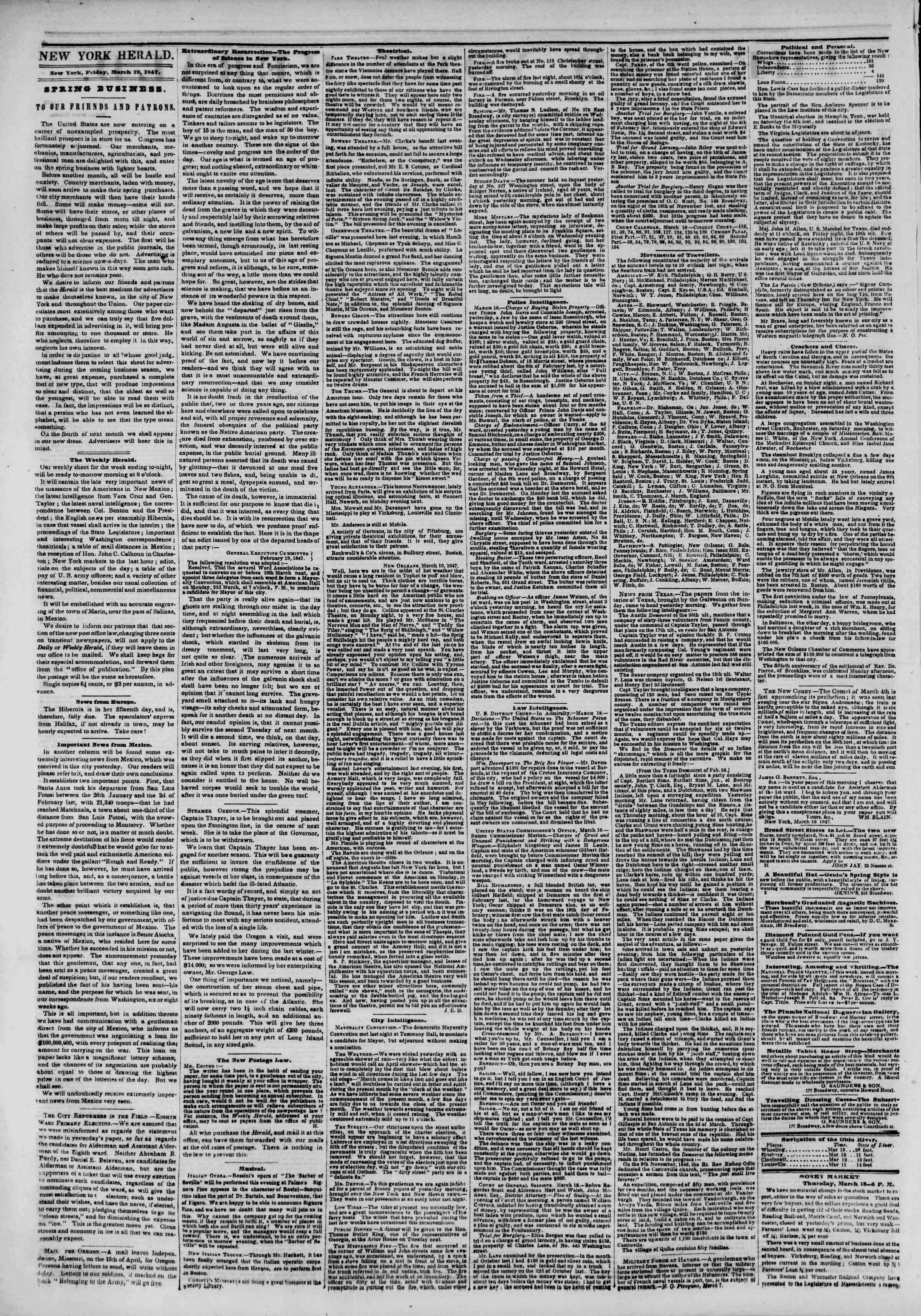 Newspaper of The New York Herald dated March 19, 1847 Page 2