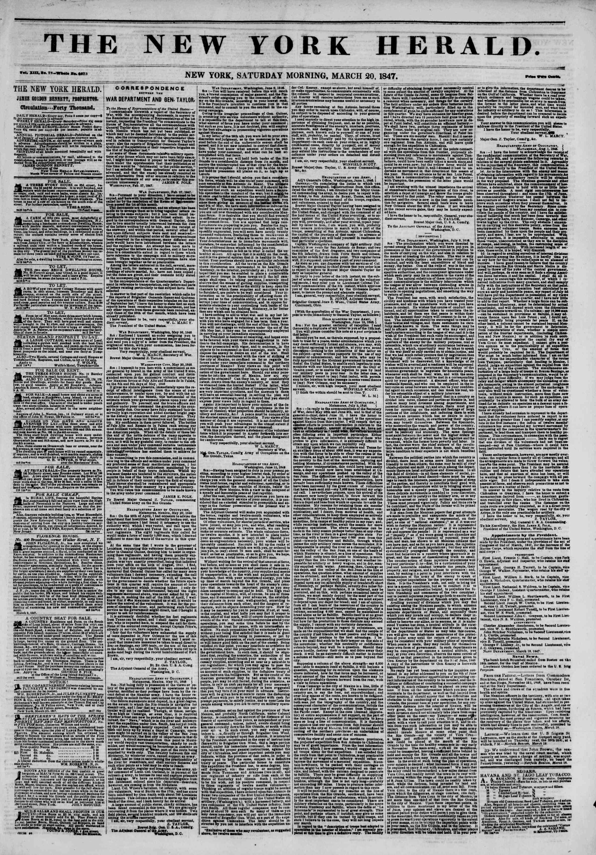 Newspaper of The New York Herald dated March 20, 1847 Page 1
