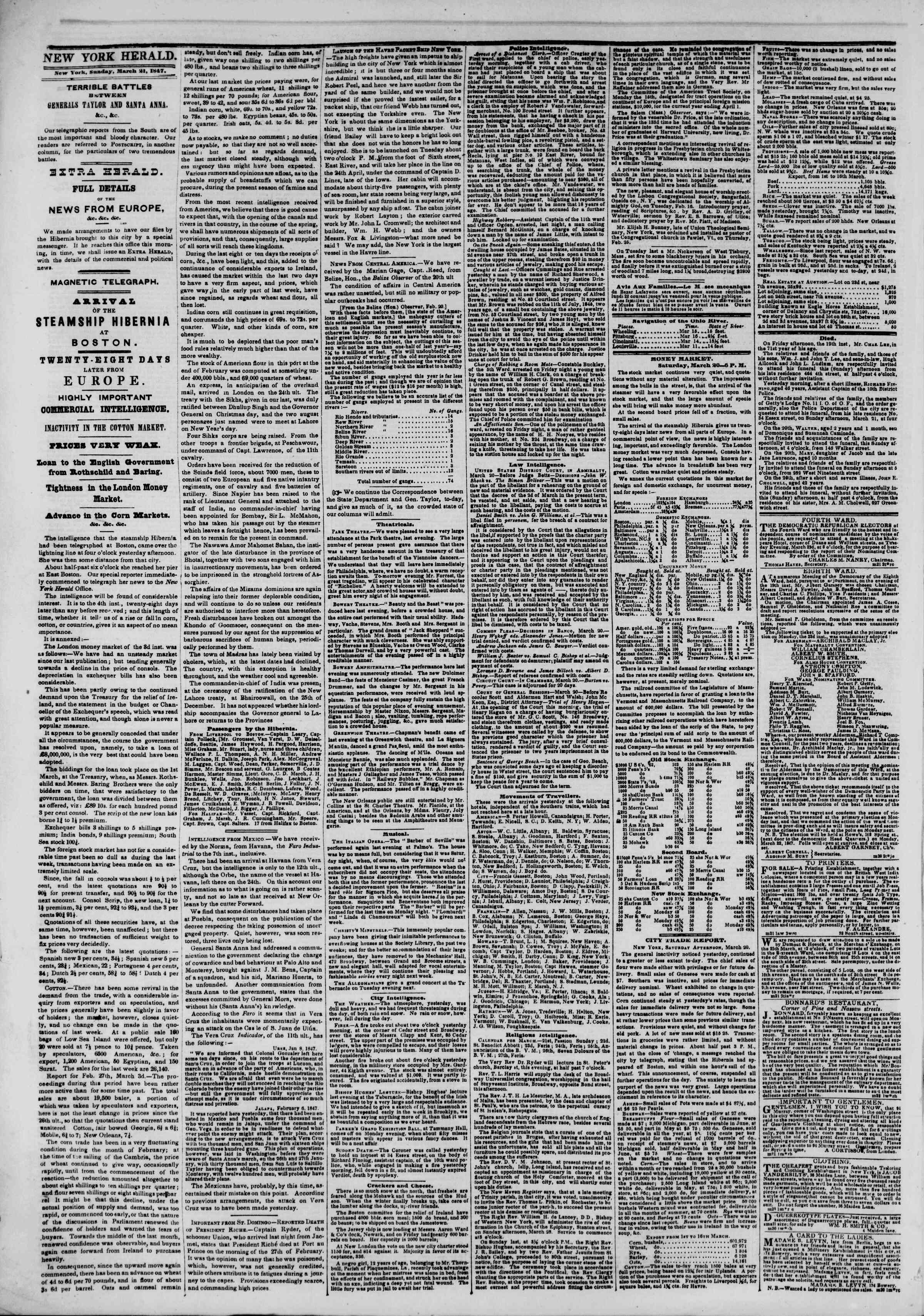 Newspaper of The New York Herald dated March 21, 1847 Page 2
