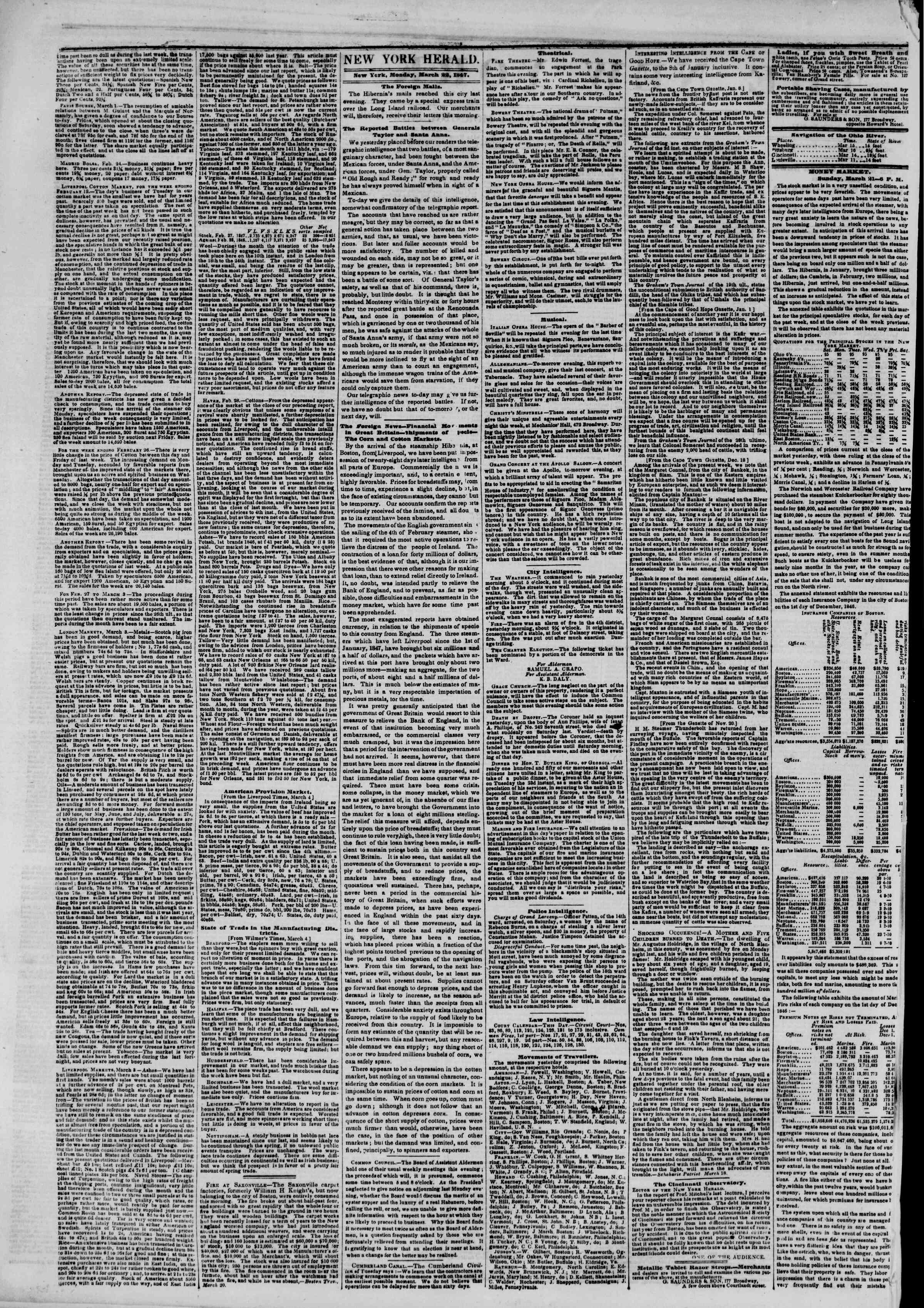 22 Mart 1847 tarihli The New York Herald Gazetesi Sayfa 2