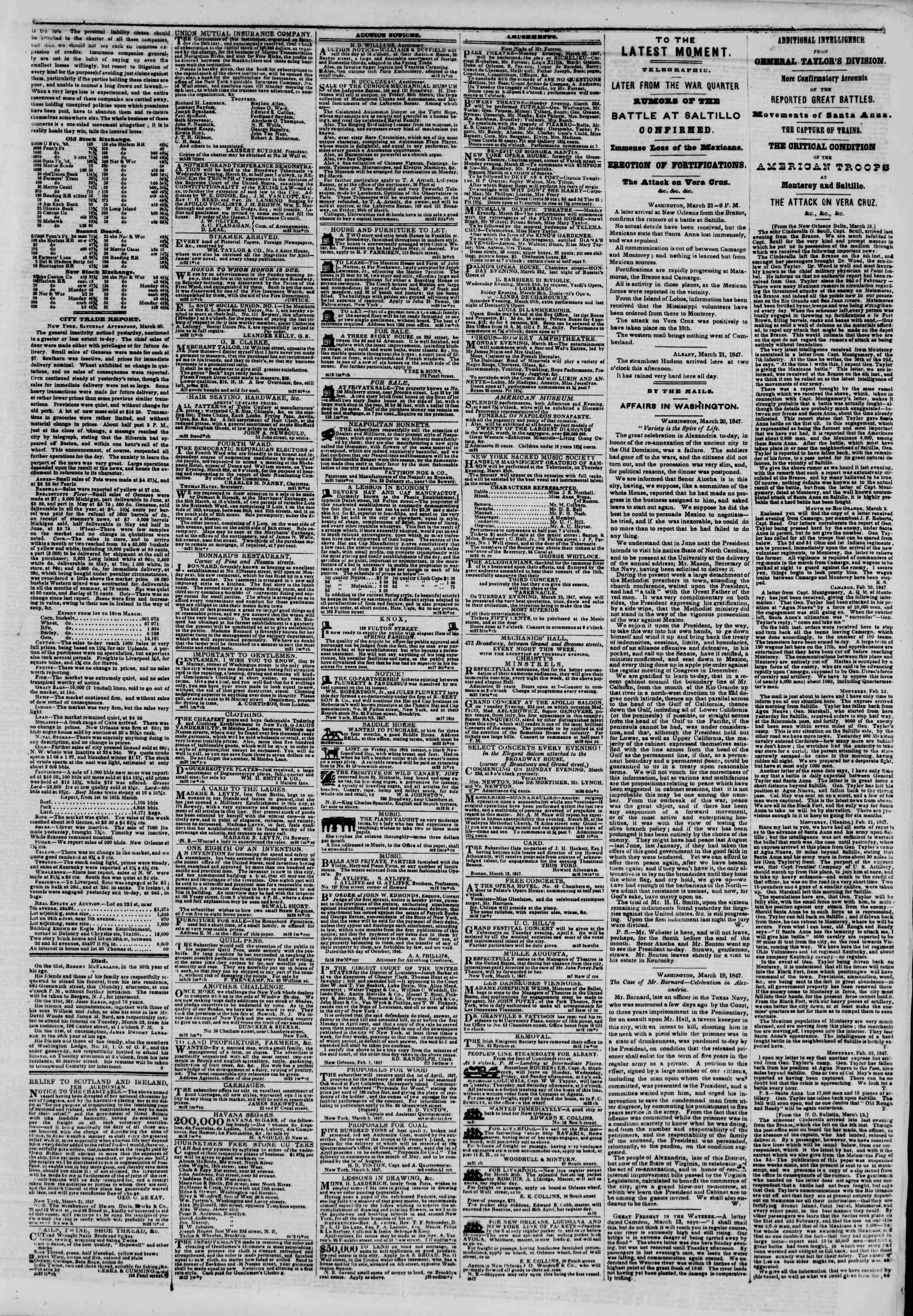 Newspaper of The New York Herald dated March 22, 1847 Page 3