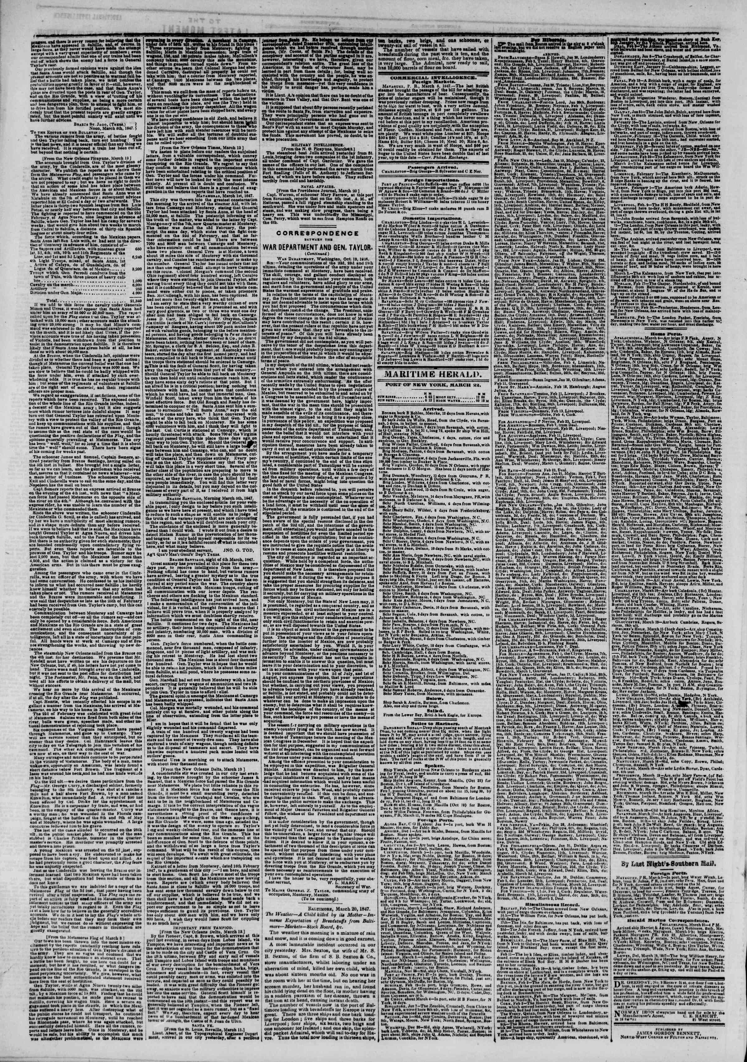 Newspaper of The New York Herald dated March 22, 1847 Page 4