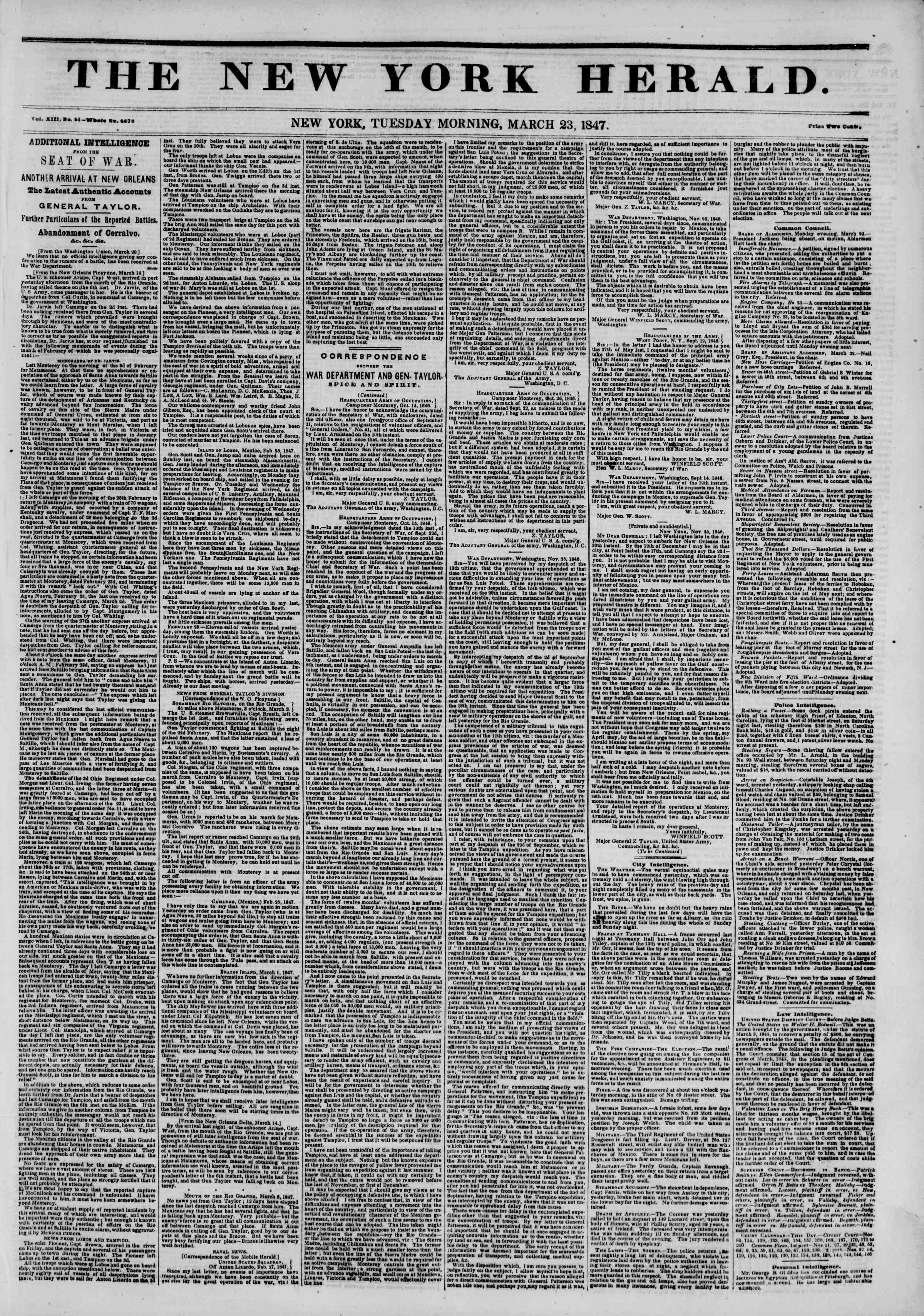 Newspaper of The New York Herald dated March 23, 1847 Page 1