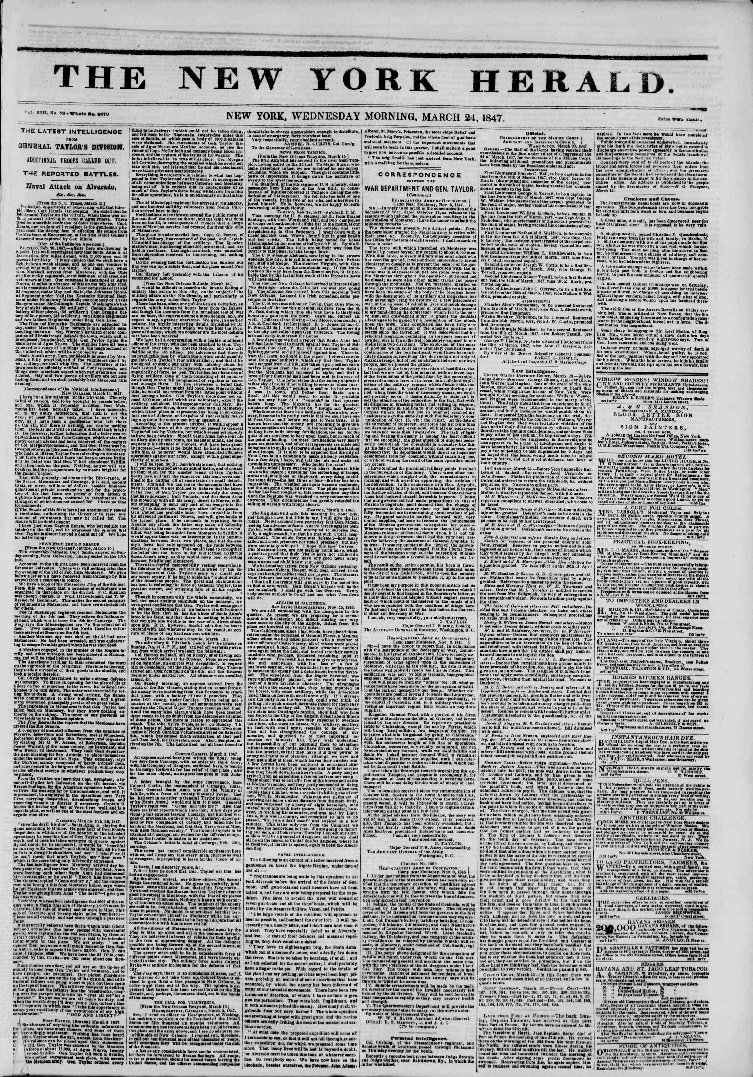 Newspaper of The New York Herald dated March 24, 1847 Page 1