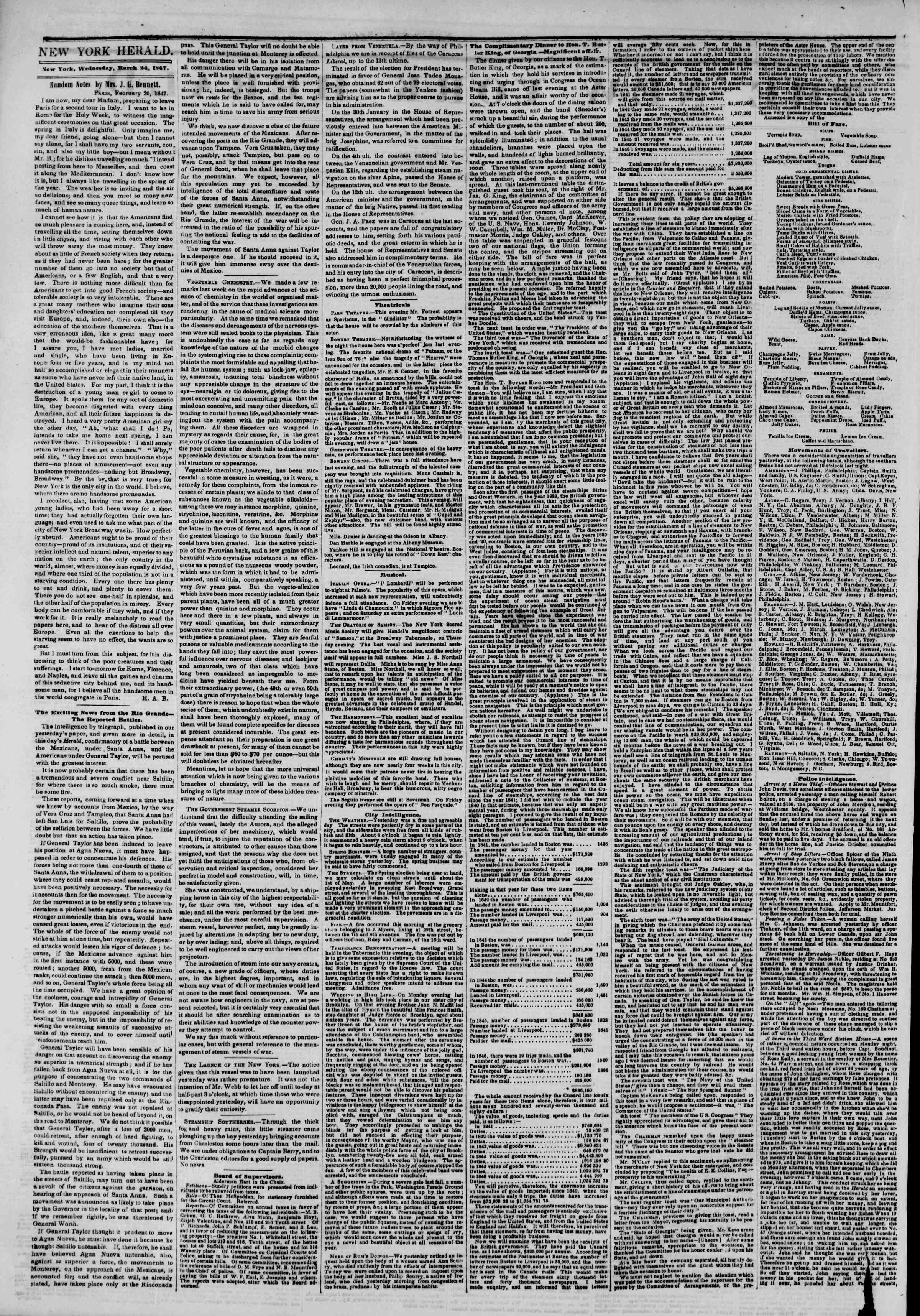 Newspaper of The New York Herald dated March 24, 1847 Page 2