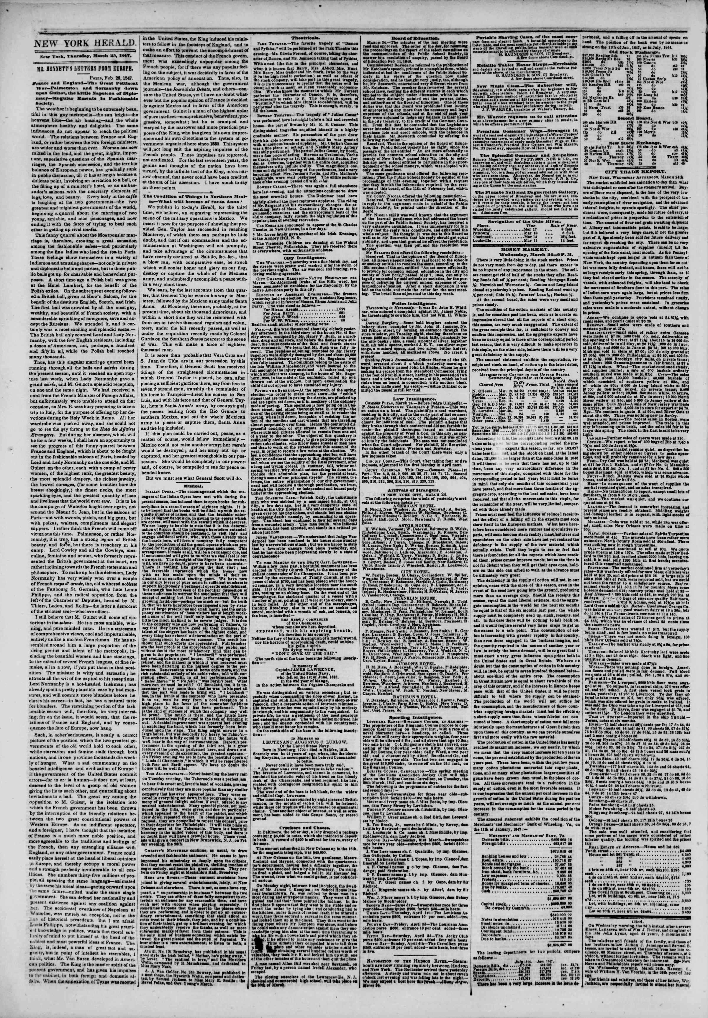 Newspaper of The New York Herald dated March 25, 1847 Page 2