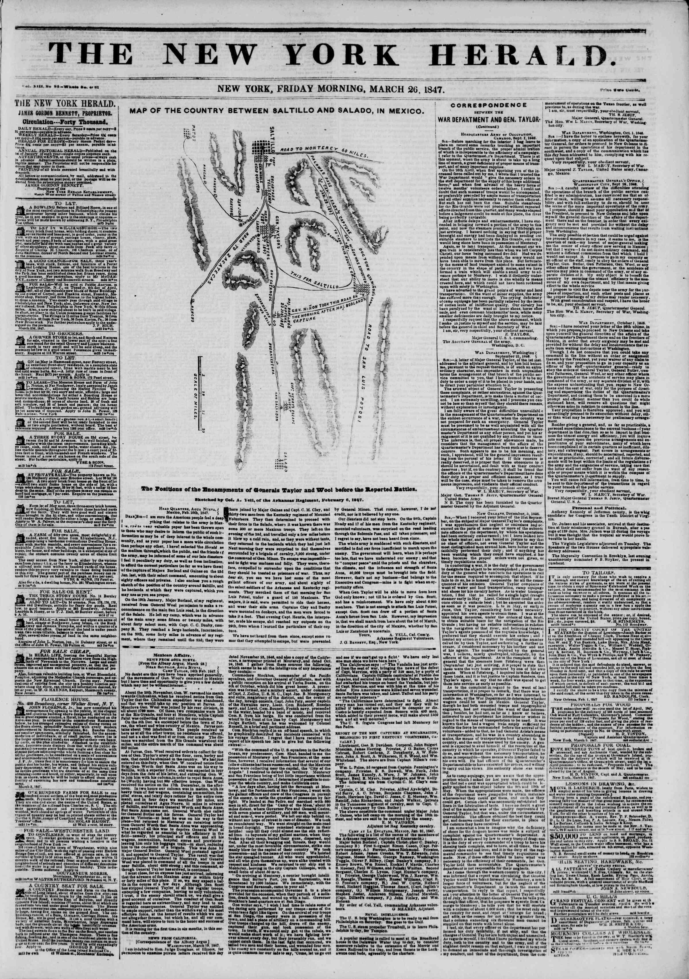 Newspaper of The New York Herald dated March 26, 1847 Page 1