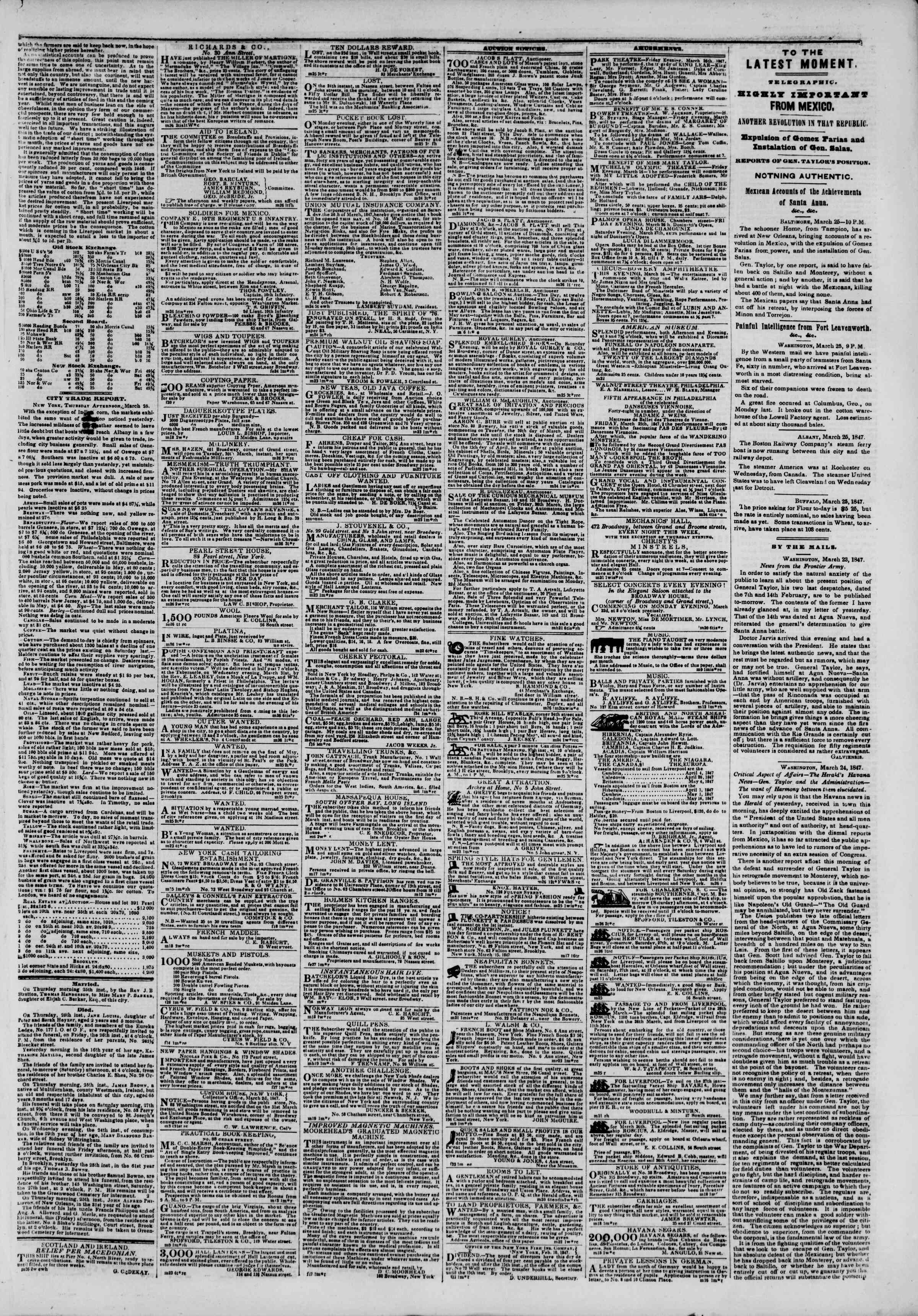 Newspaper of The New York Herald dated March 26, 1847 Page 3