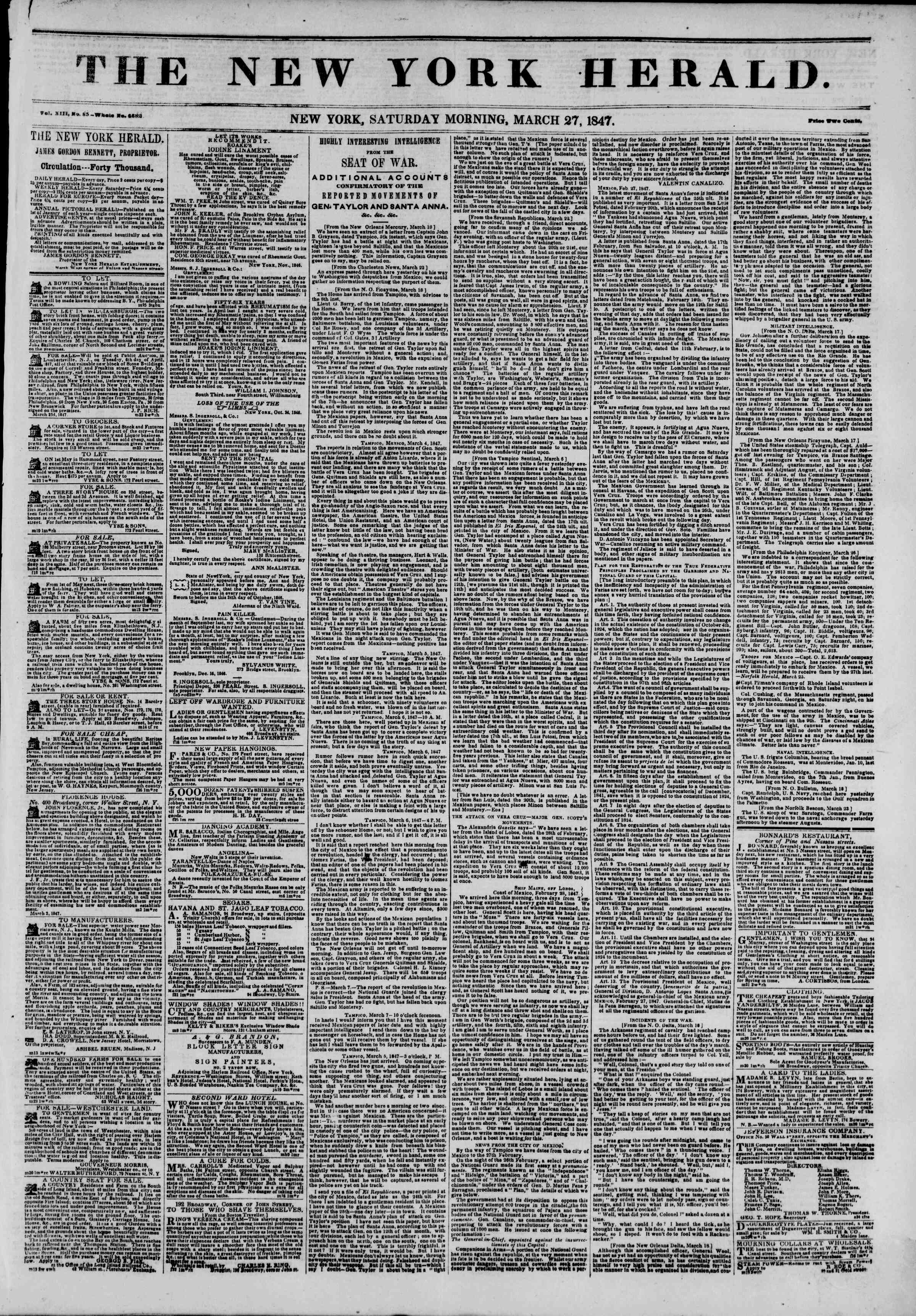 Newspaper of The New York Herald dated March 27, 1847 Page 1