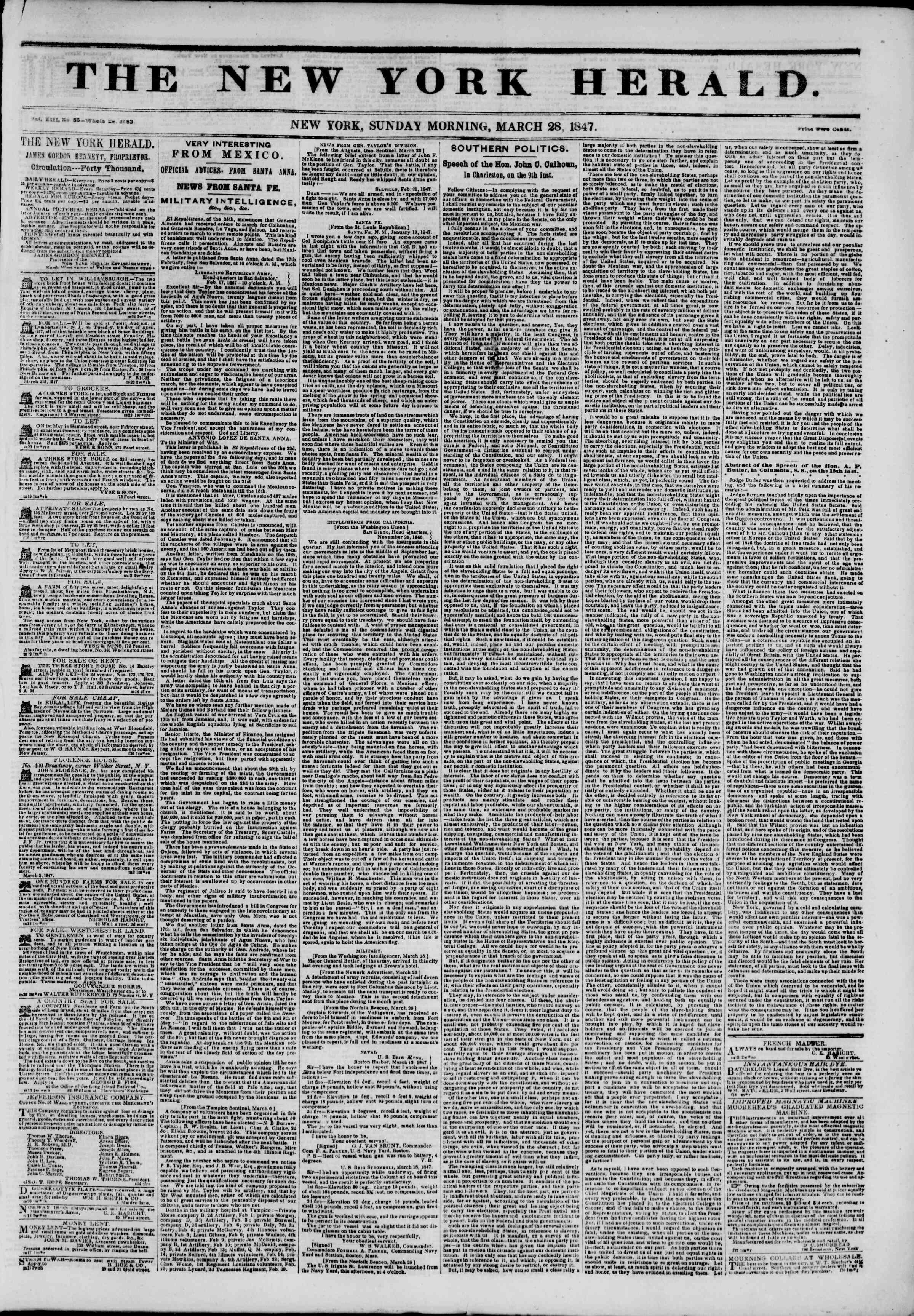 Newspaper of The New York Herald dated March 28, 1847 Page 1