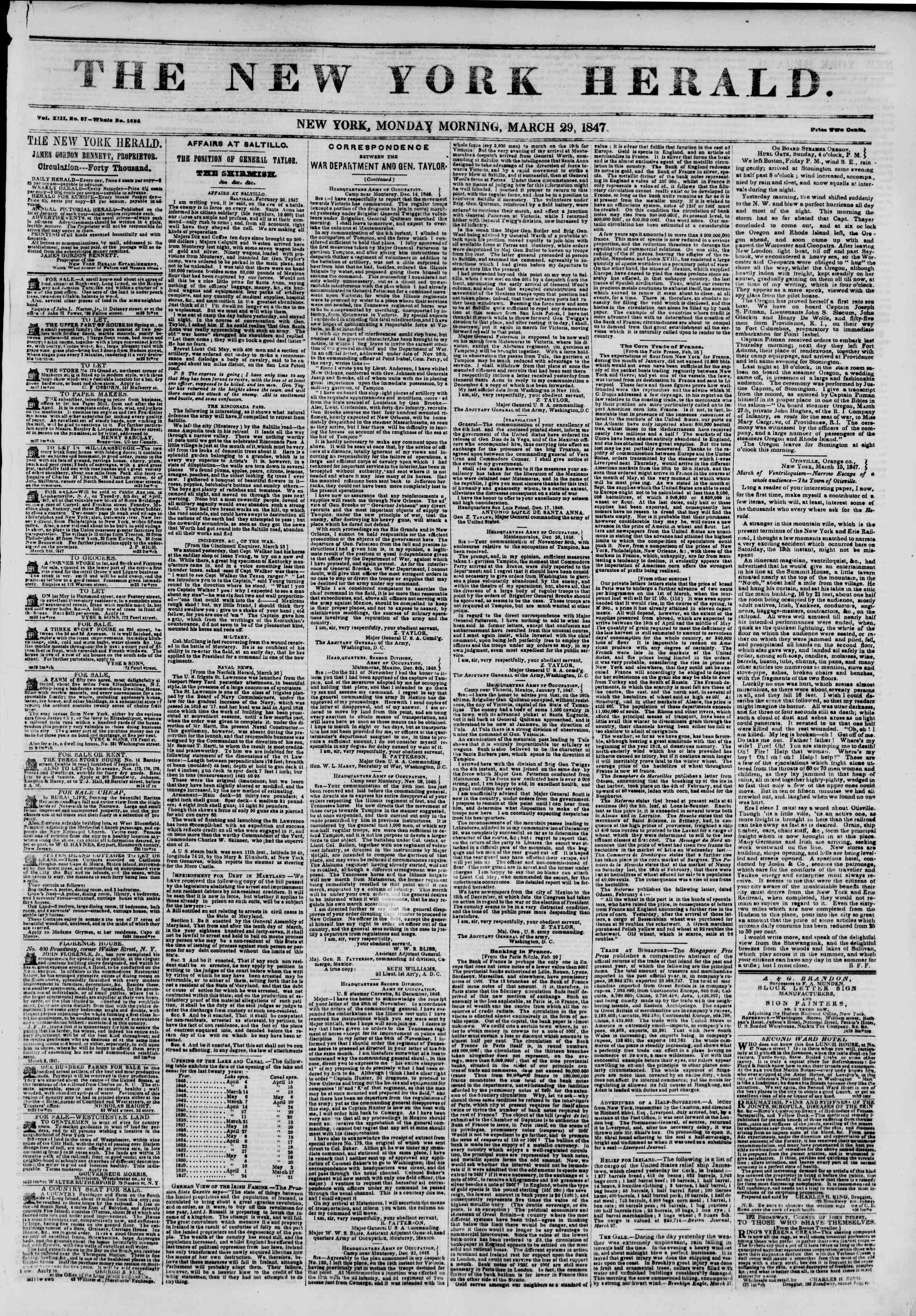 Newspaper of The New York Herald dated March 29, 1847 Page 1