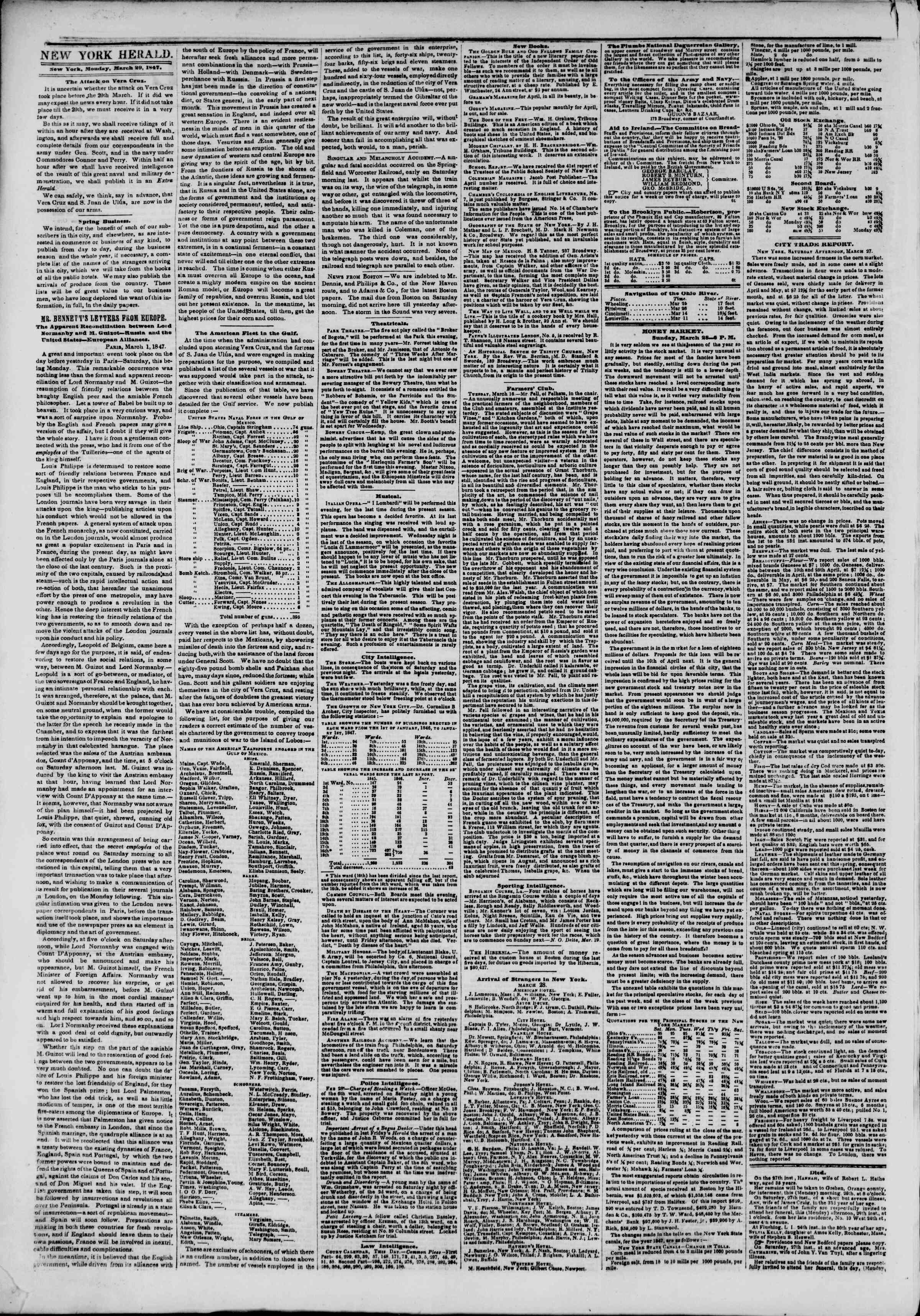 Newspaper of The New York Herald dated March 29, 1847 Page 2