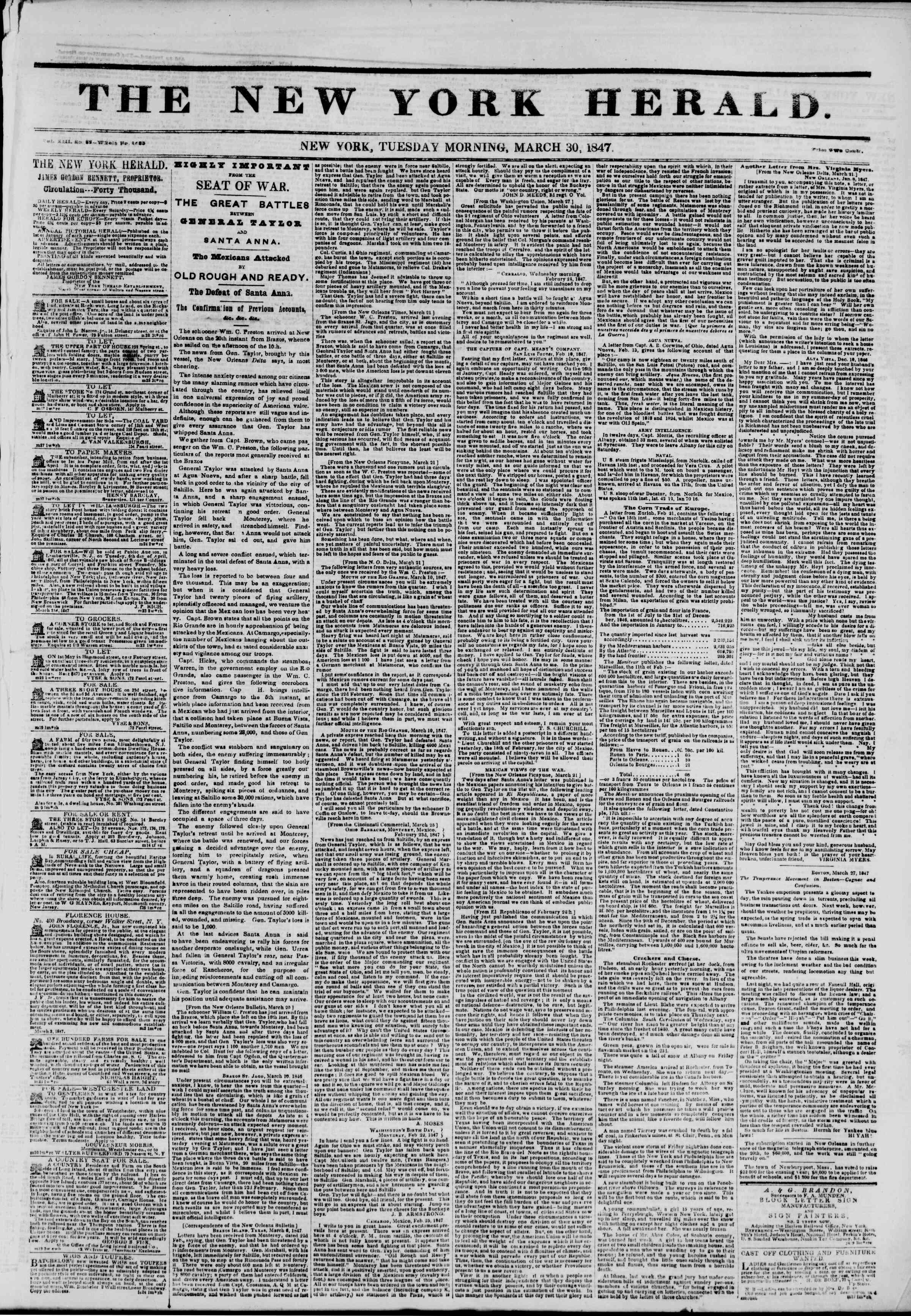 Newspaper of The New York Herald dated March 30, 1847 Page 1