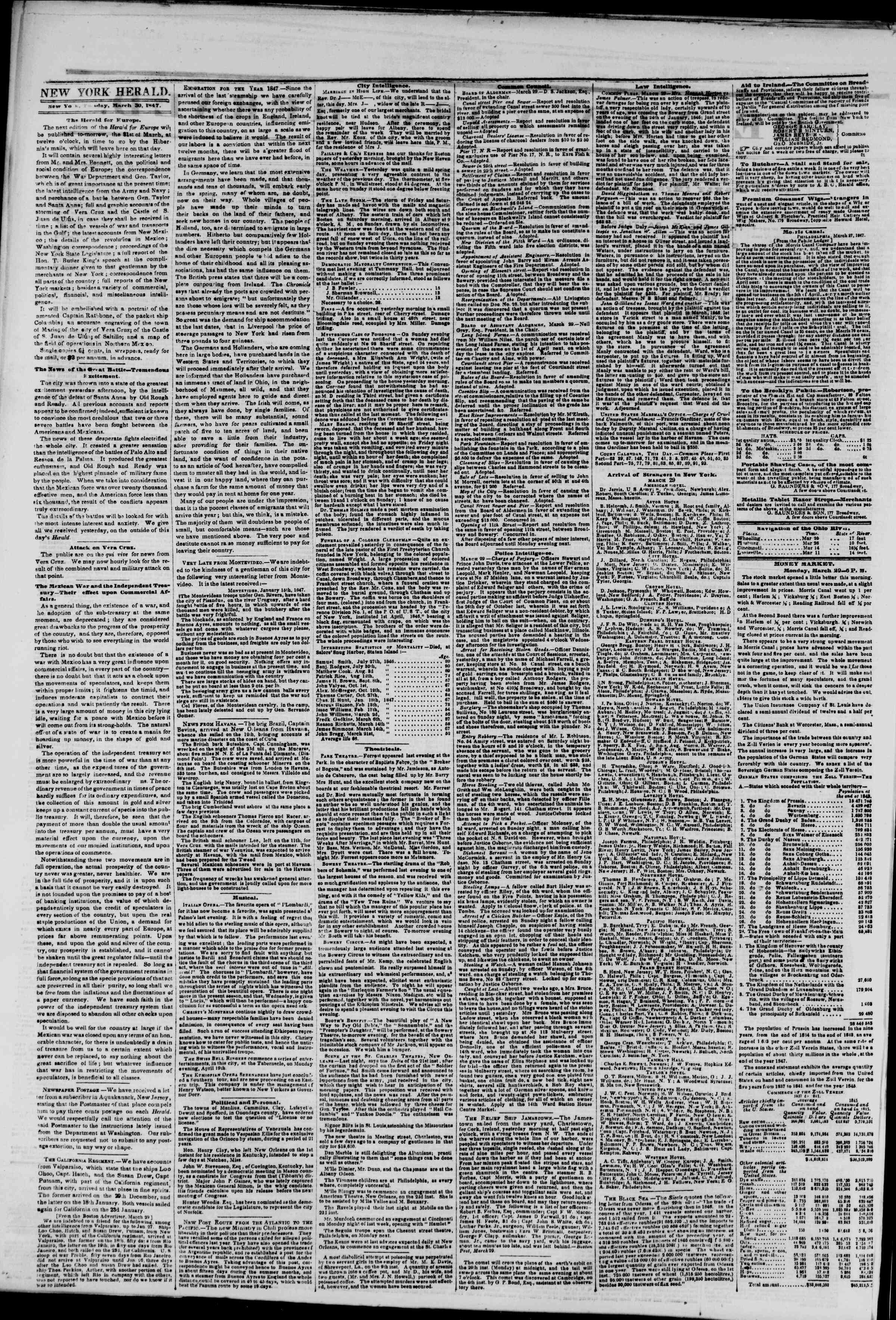 Newspaper of The New York Herald dated March 30, 1847 Page 2