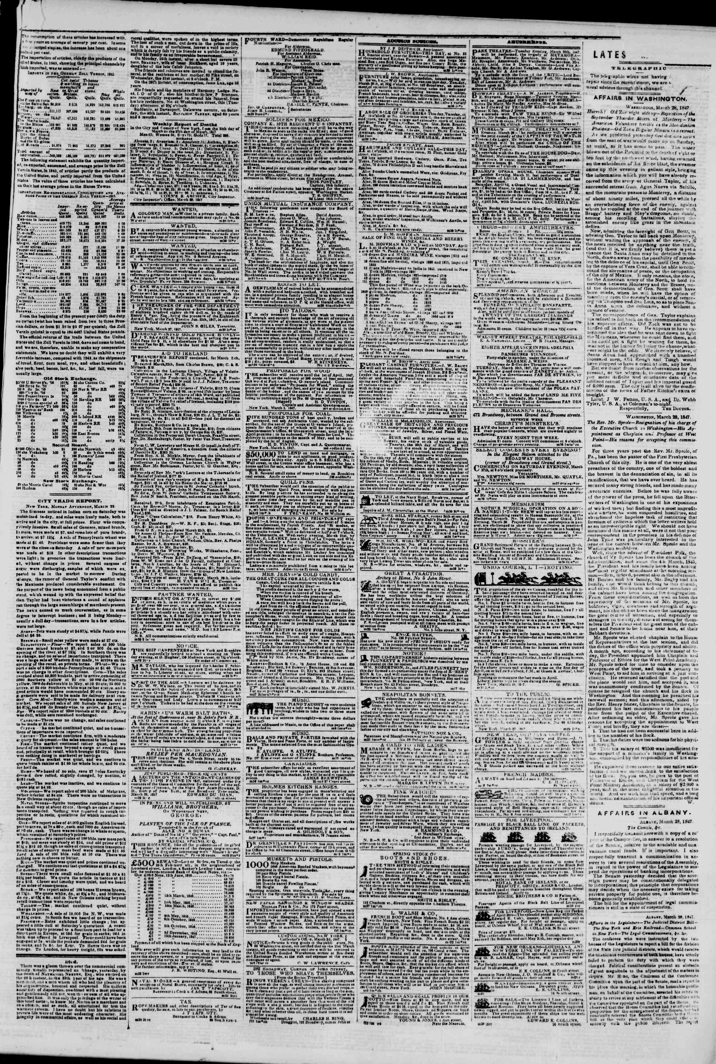 Newspaper of The New York Herald dated March 30, 1847 Page 3