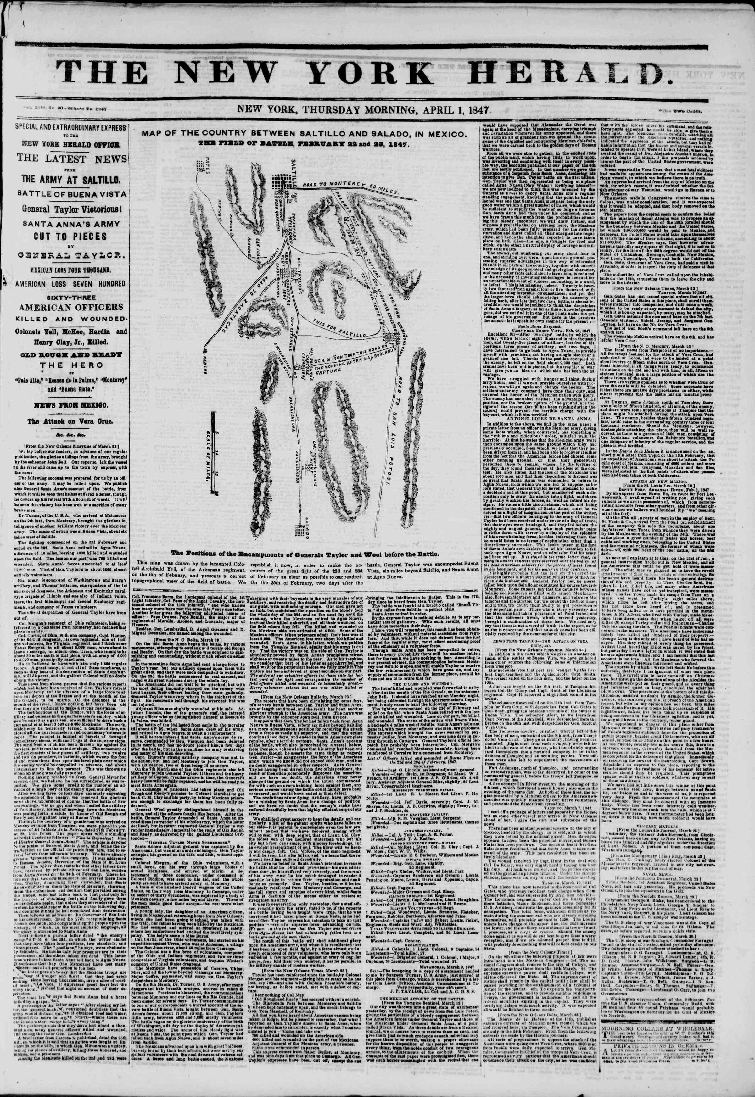 Newspaper of The New York Herald dated April 1, 1847 Page 1