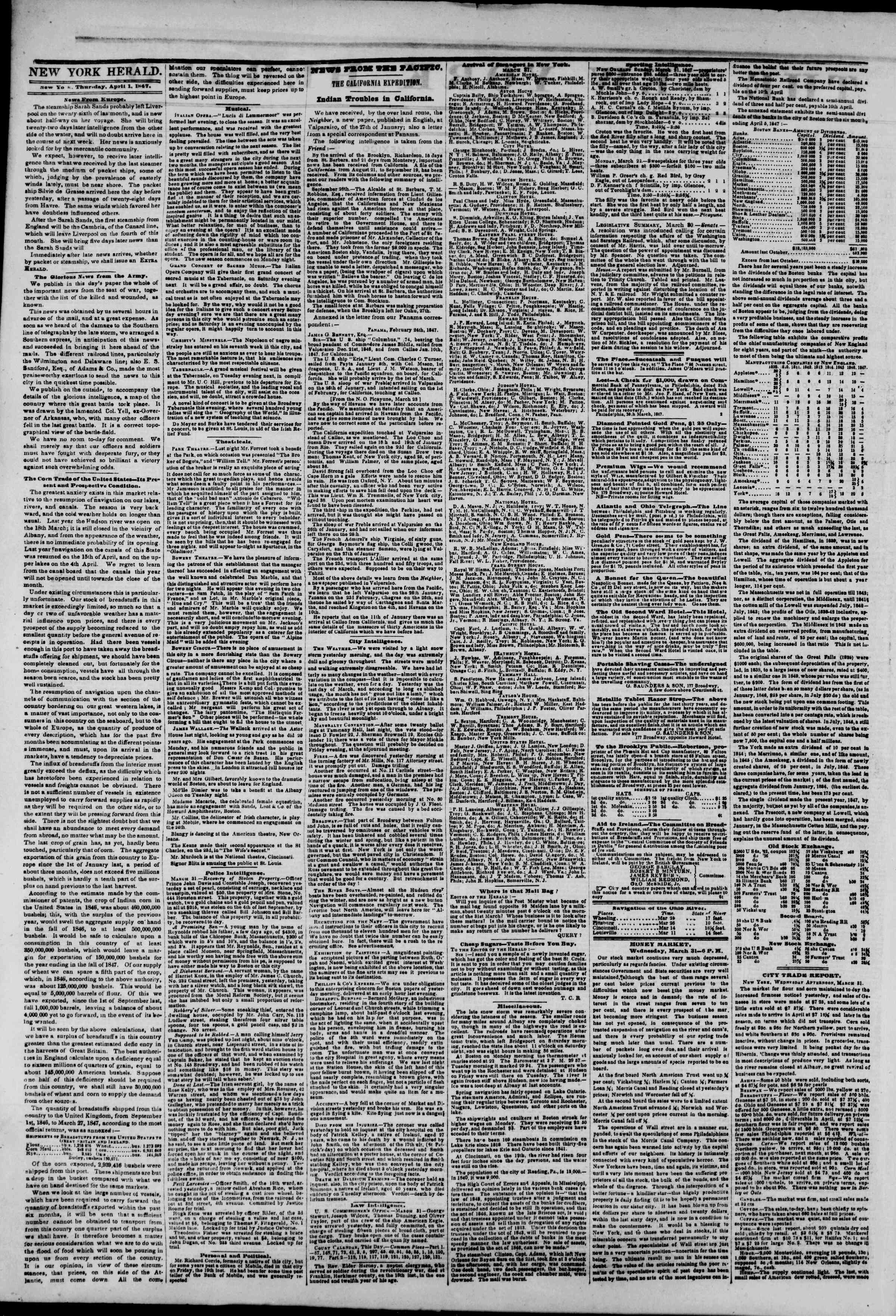 Newspaper of The New York Herald dated April 1, 1847 Page 2