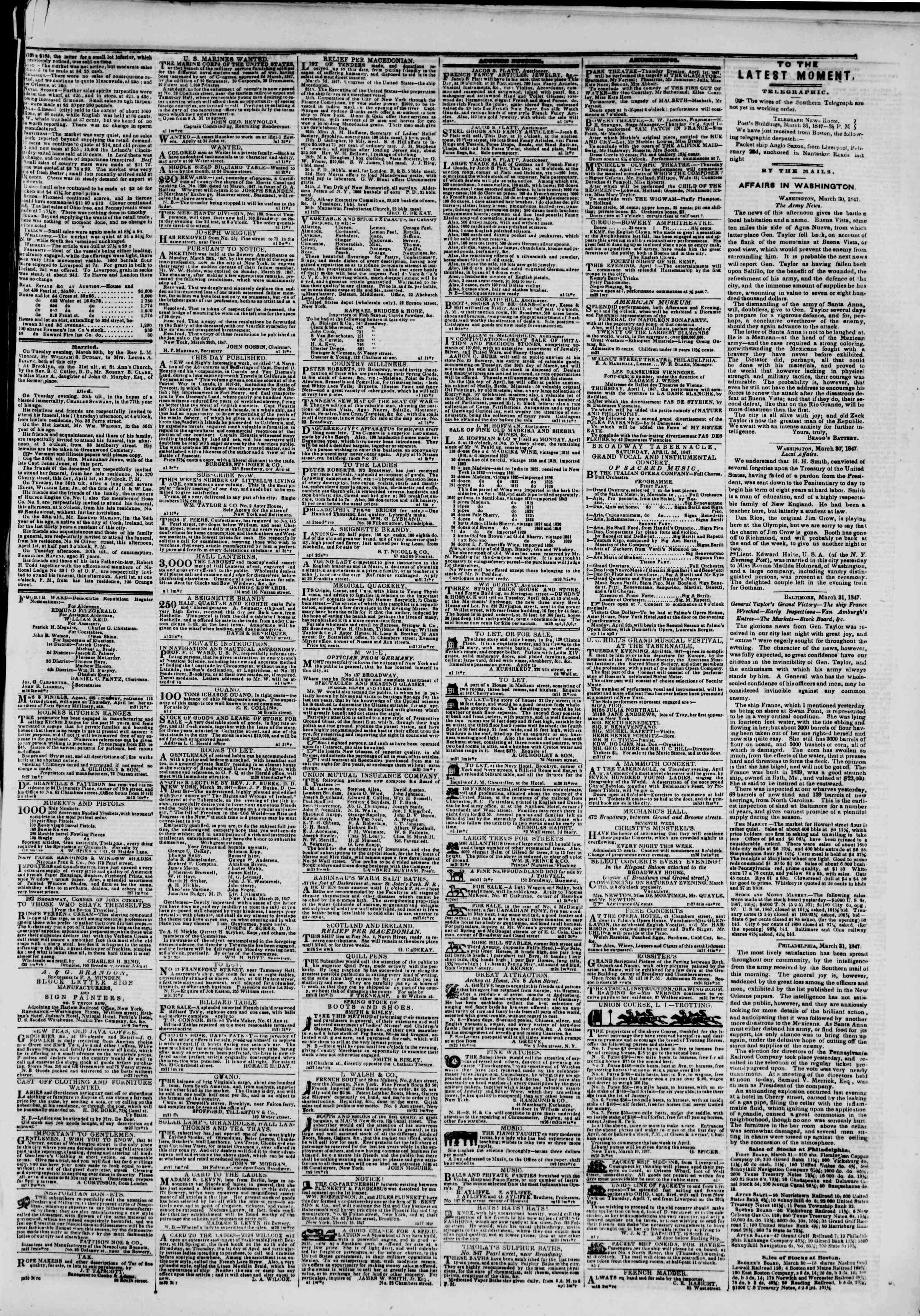 Newspaper of The New York Herald dated April 1, 1847 Page 3