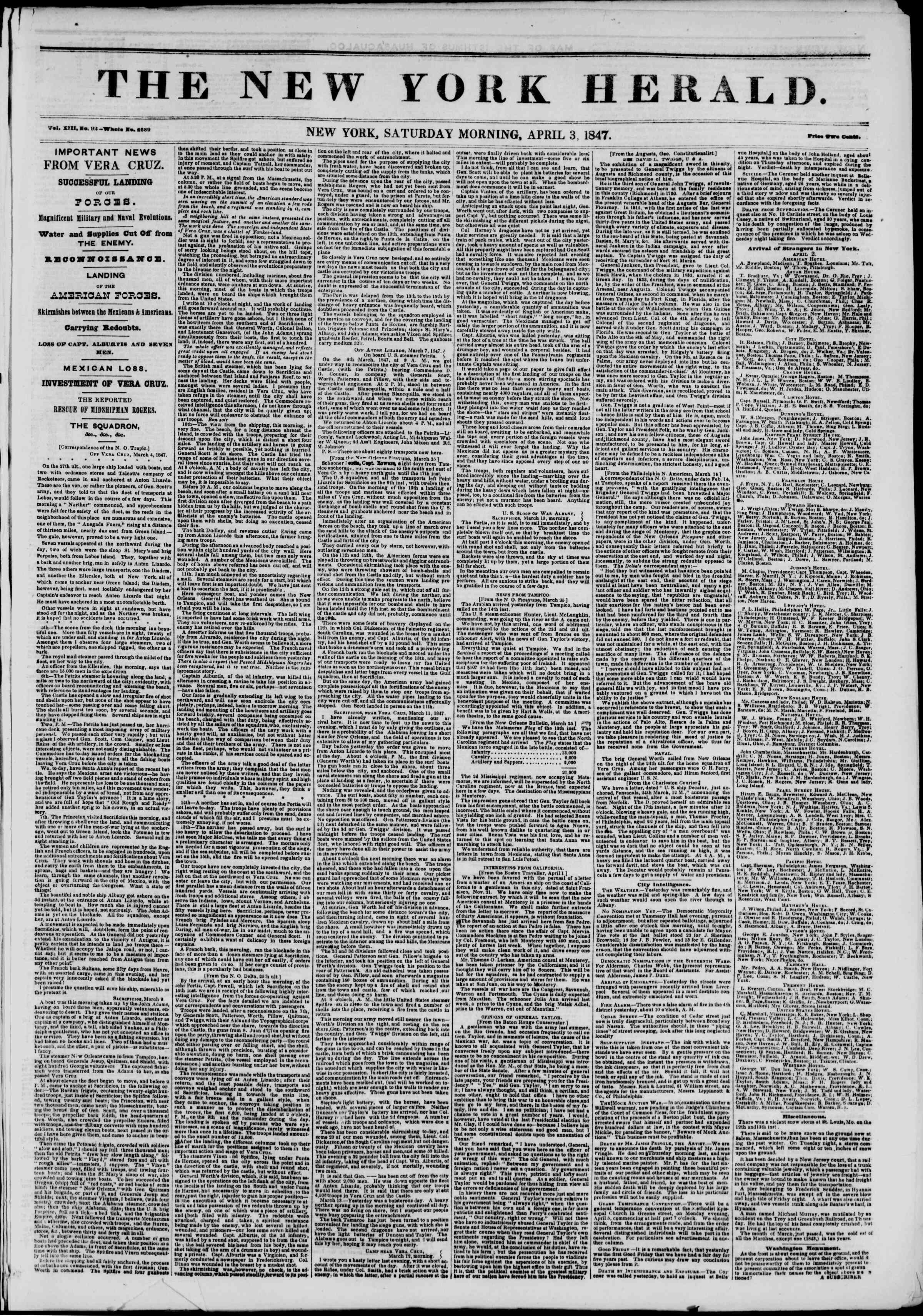 Newspaper of The New York Herald dated April 3, 1847 Page 1