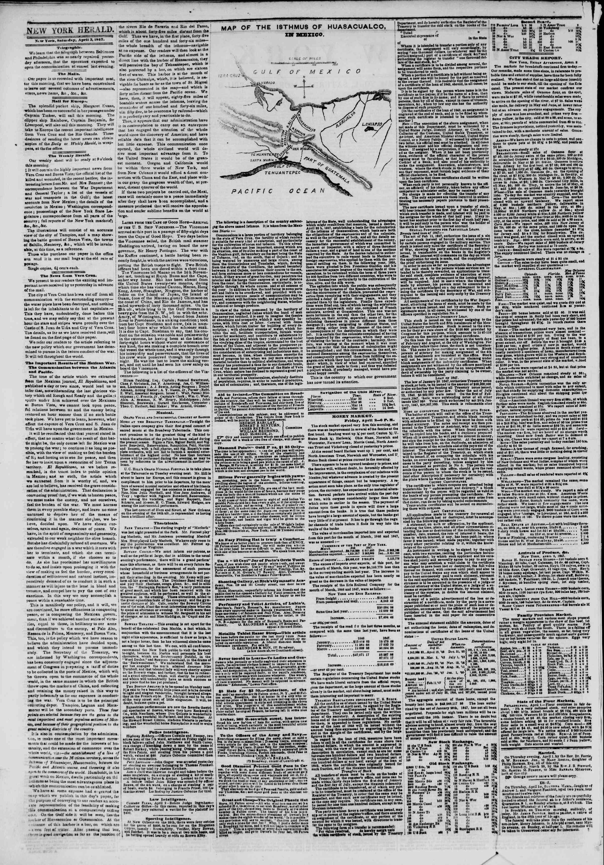 Newspaper of The New York Herald dated April 3, 1847 Page 2