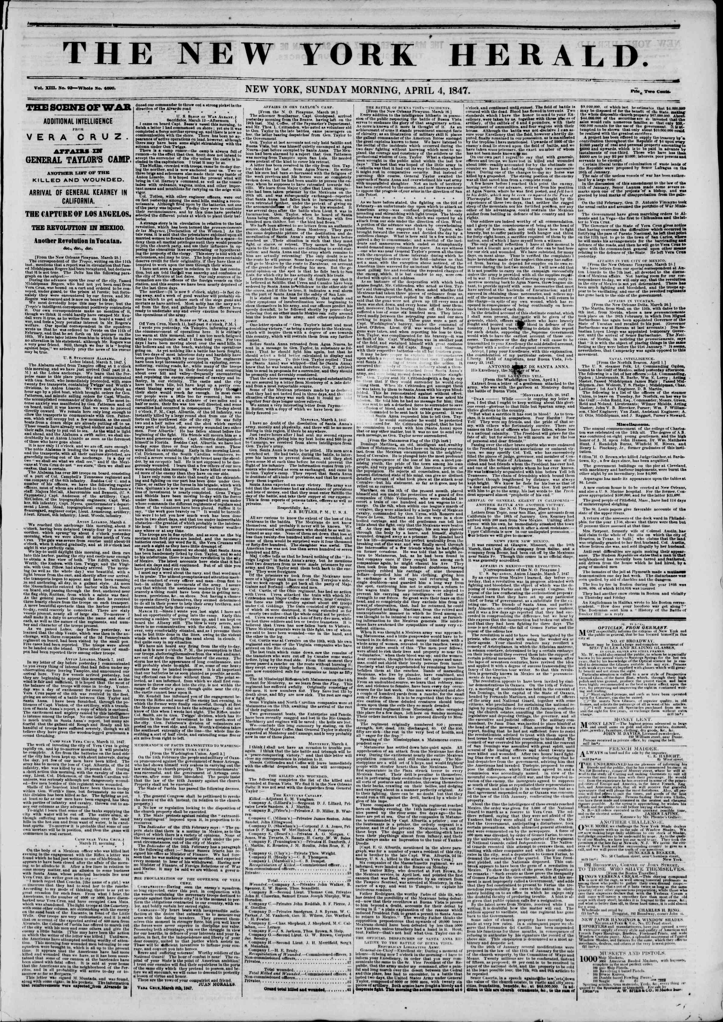 Newspaper of The New York Herald dated April 4, 1847 Page 1