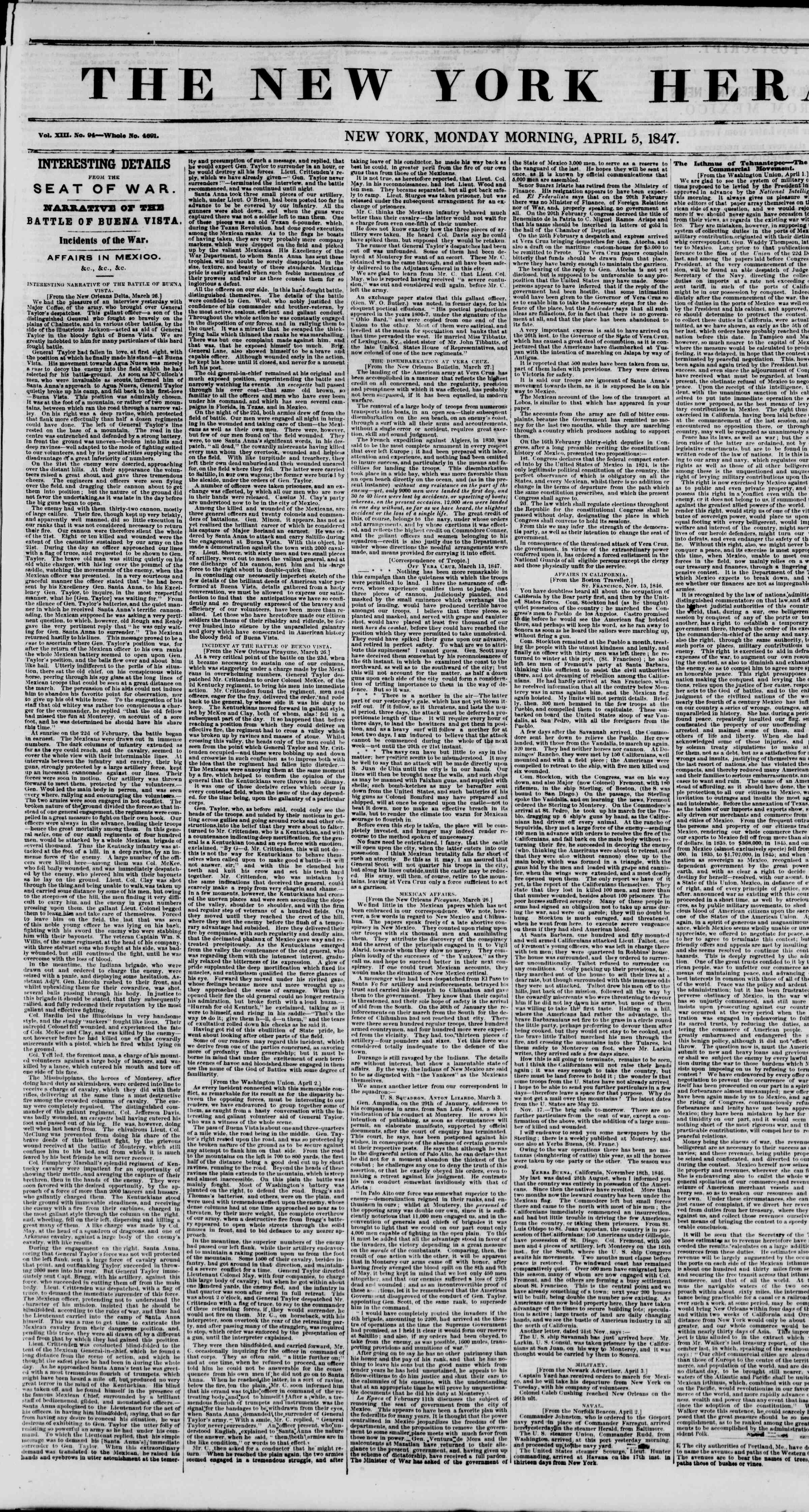 Newspaper of The New York Herald dated April 5, 1847 Page 1