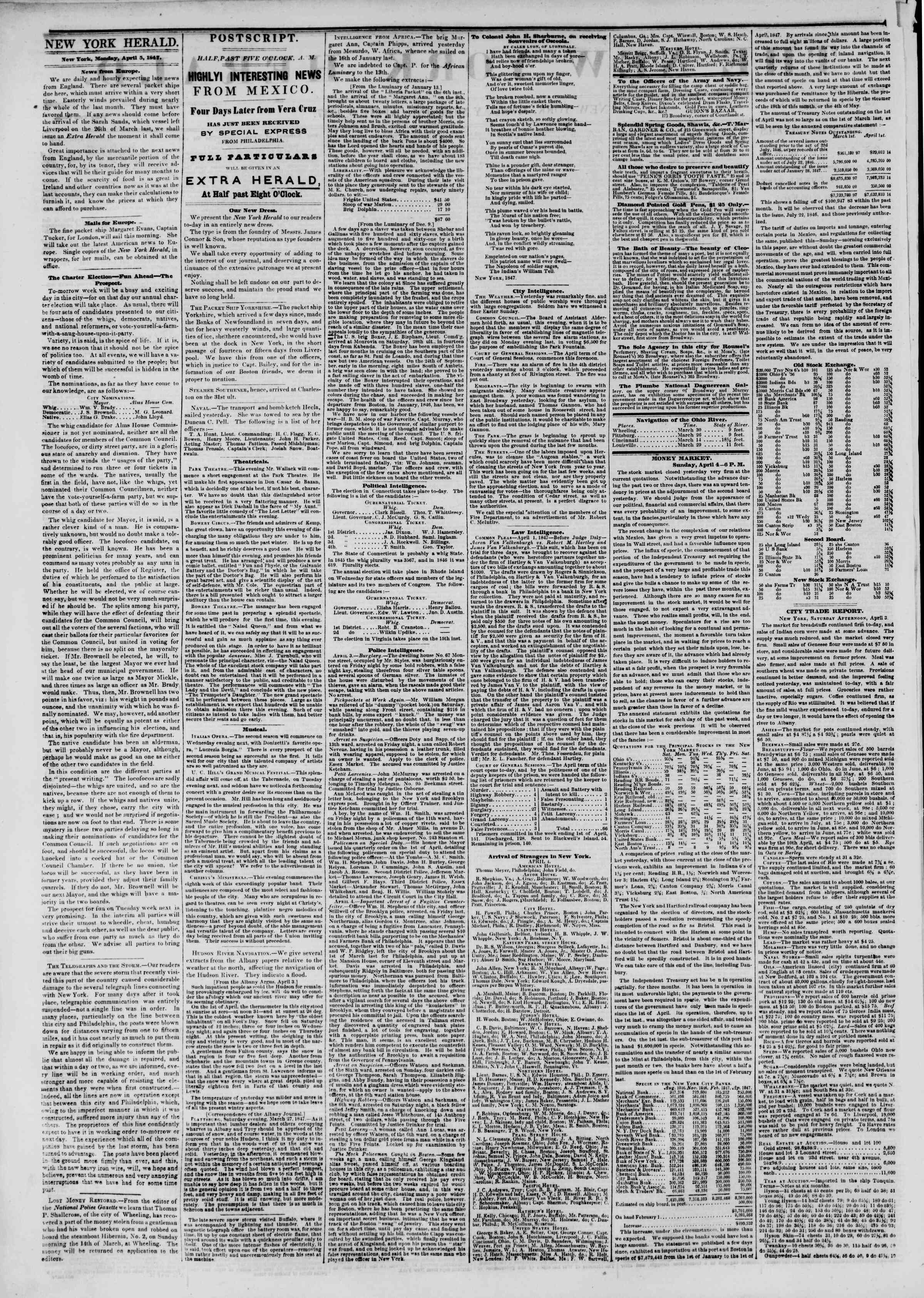 Newspaper of The New York Herald dated April 5, 1847 Page 2