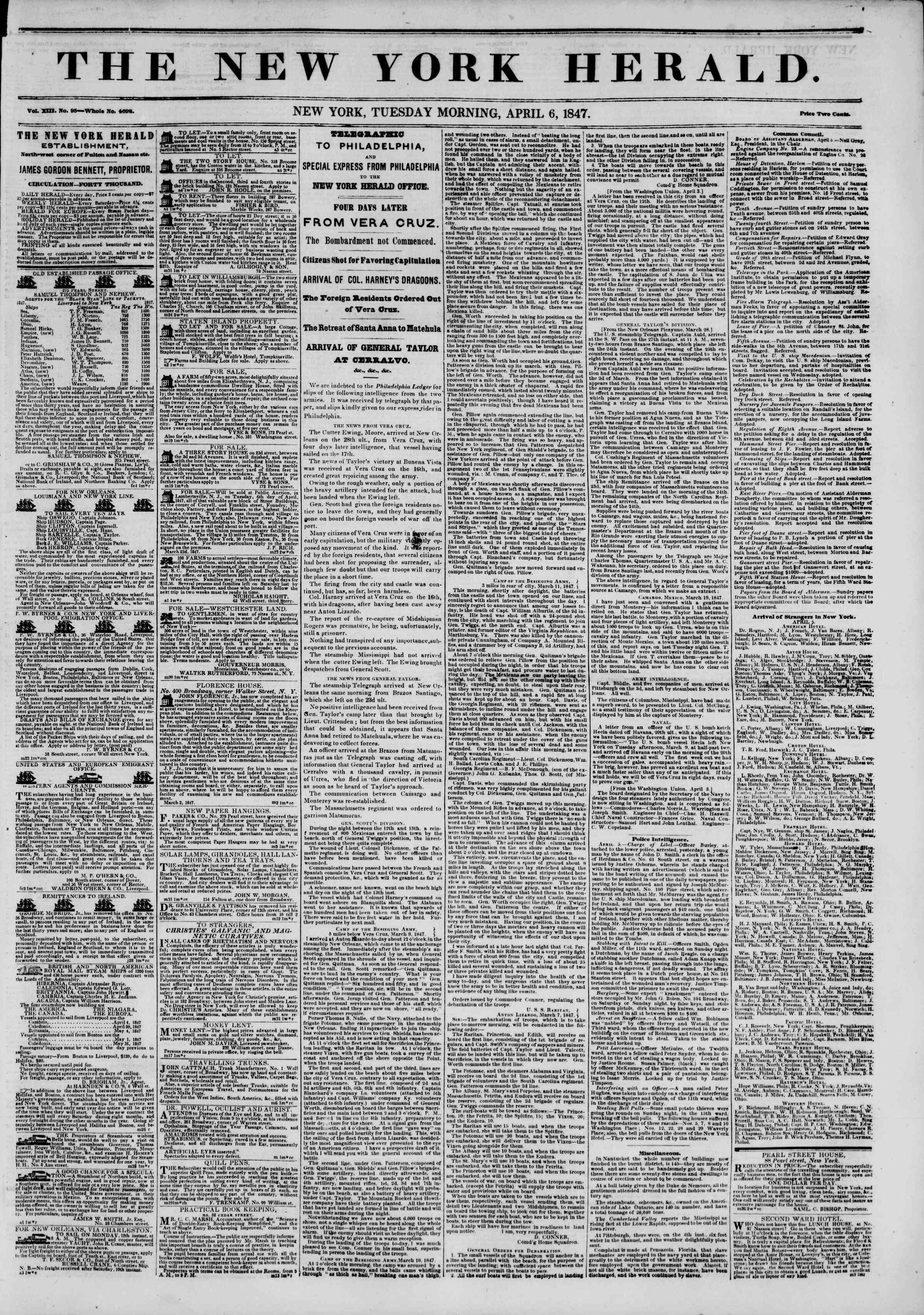 Newspaper of The New York Herald dated April 6, 1847 Page 1