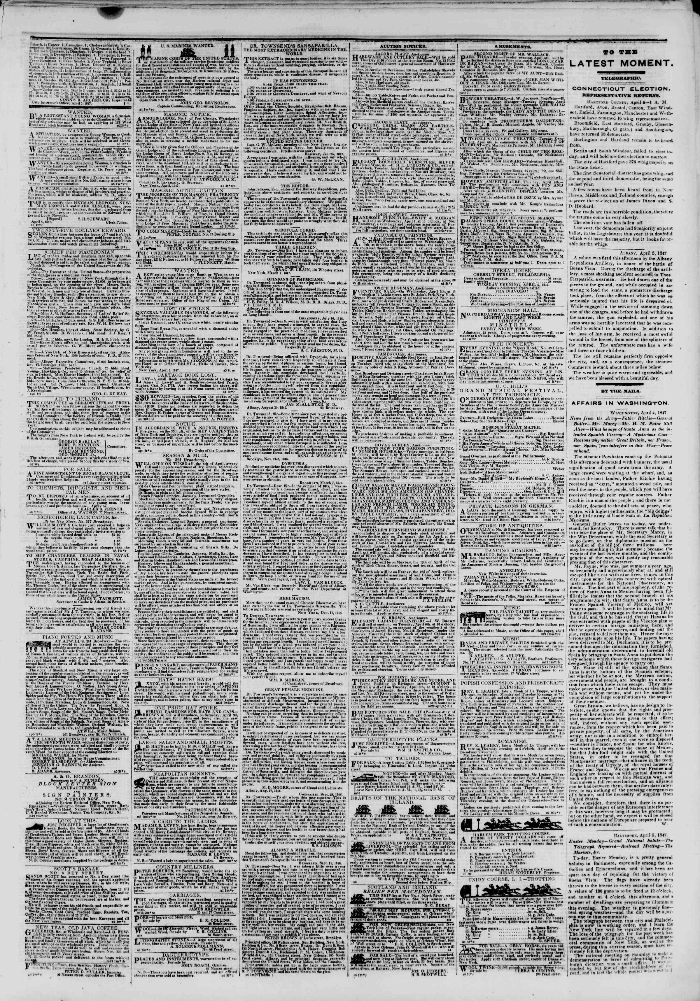 Newspaper of The New York Herald dated April 6, 1847 Page 3