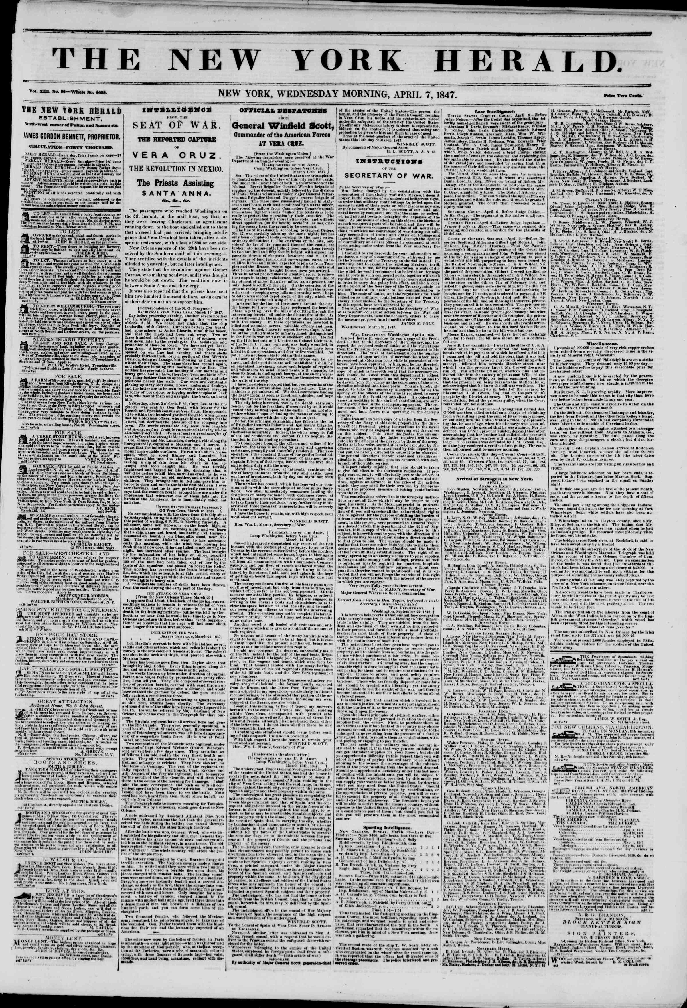 Newspaper of The New York Herald dated April 7, 1847 Page 1