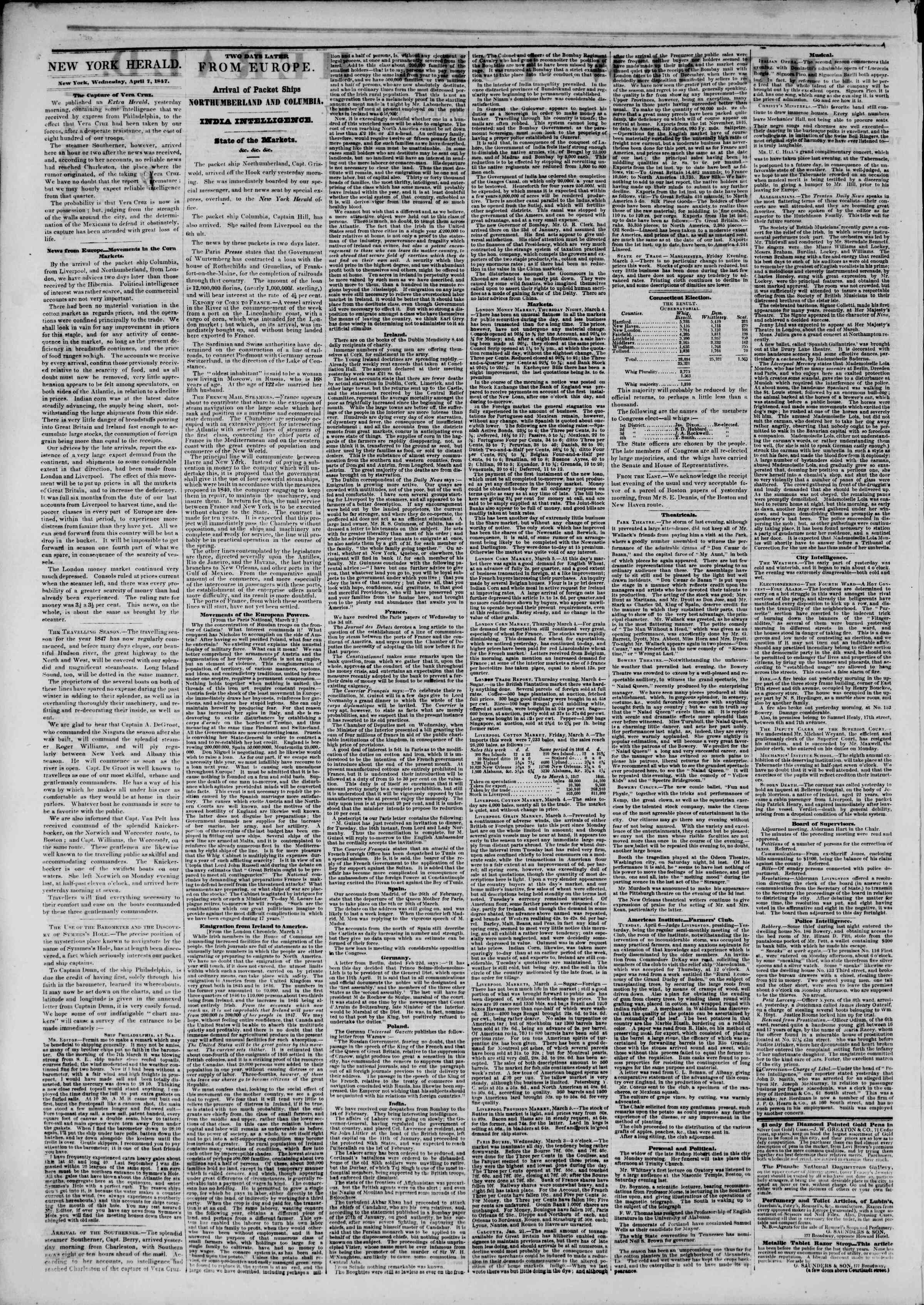 Newspaper of The New York Herald dated April 7, 1847 Page 2