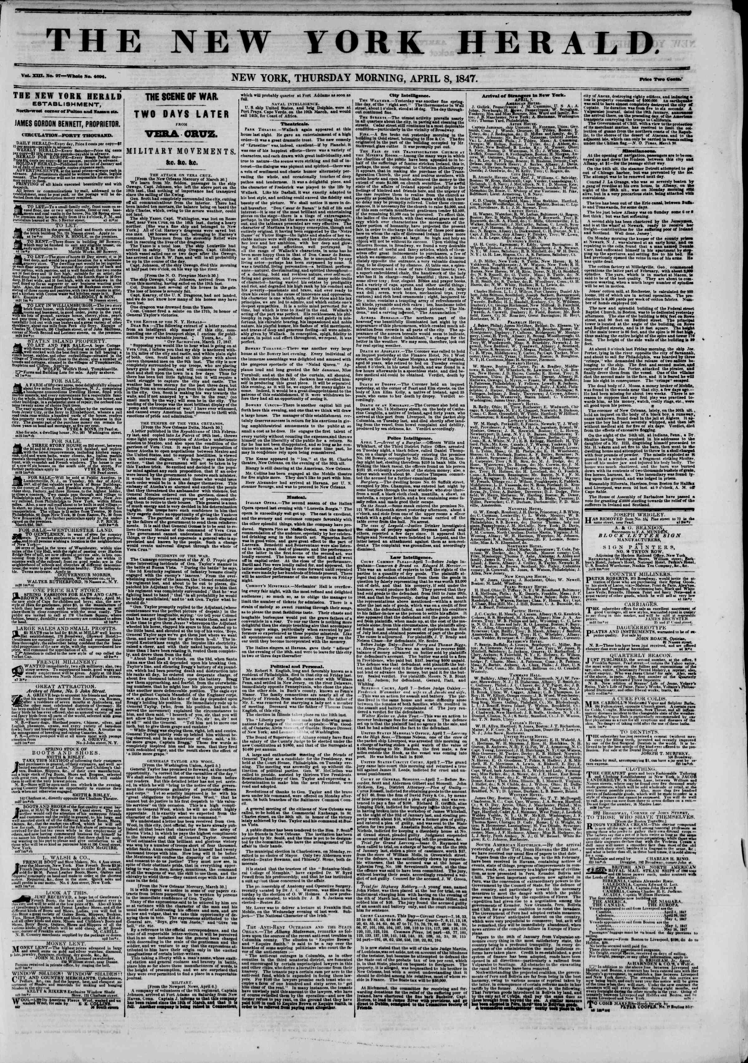 Newspaper of The New York Herald dated April 8, 1847 Page 1
