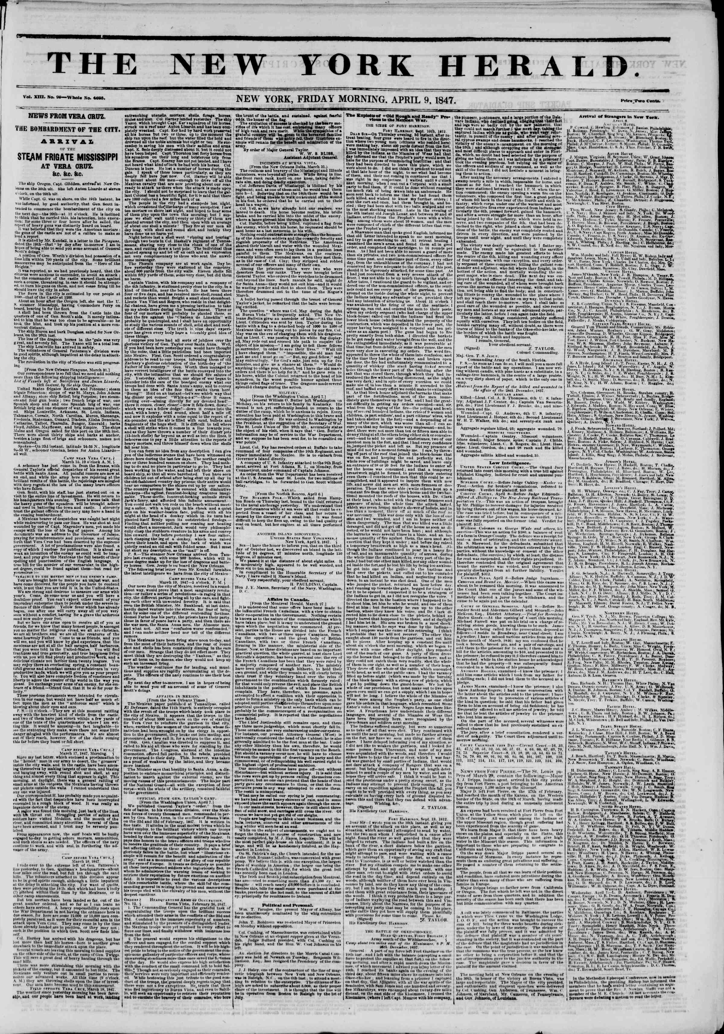Newspaper of The New York Herald dated April 9, 1847 Page 1