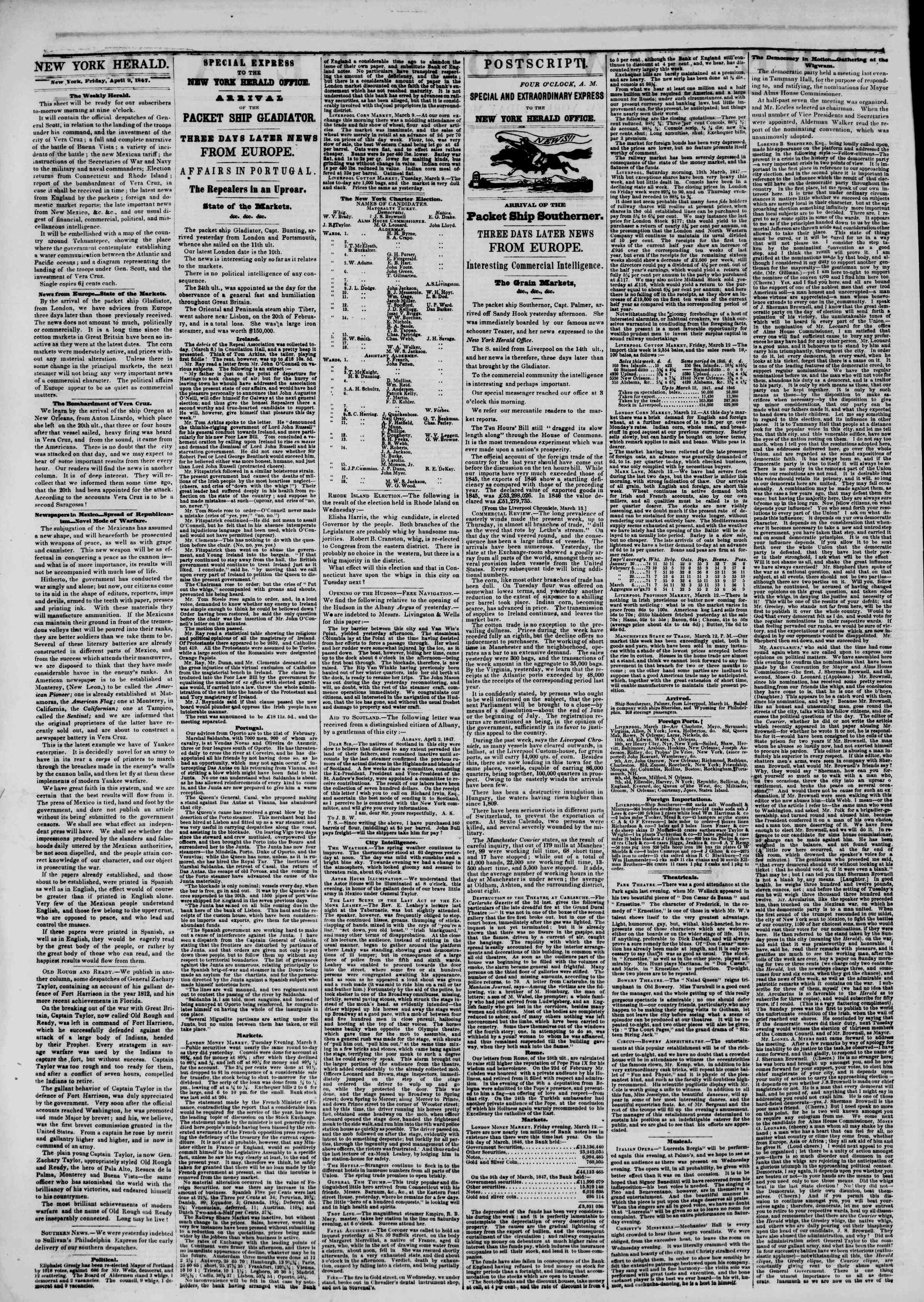 Newspaper of The New York Herald dated April 9, 1847 Page 2