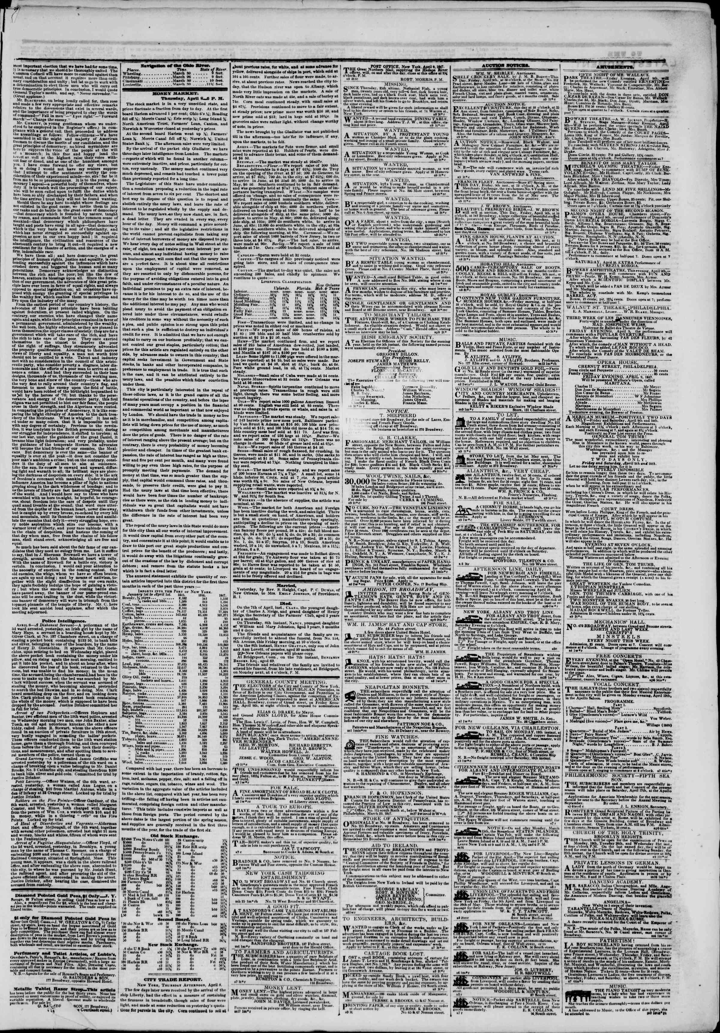 Newspaper of The New York Herald dated April 9, 1847 Page 3