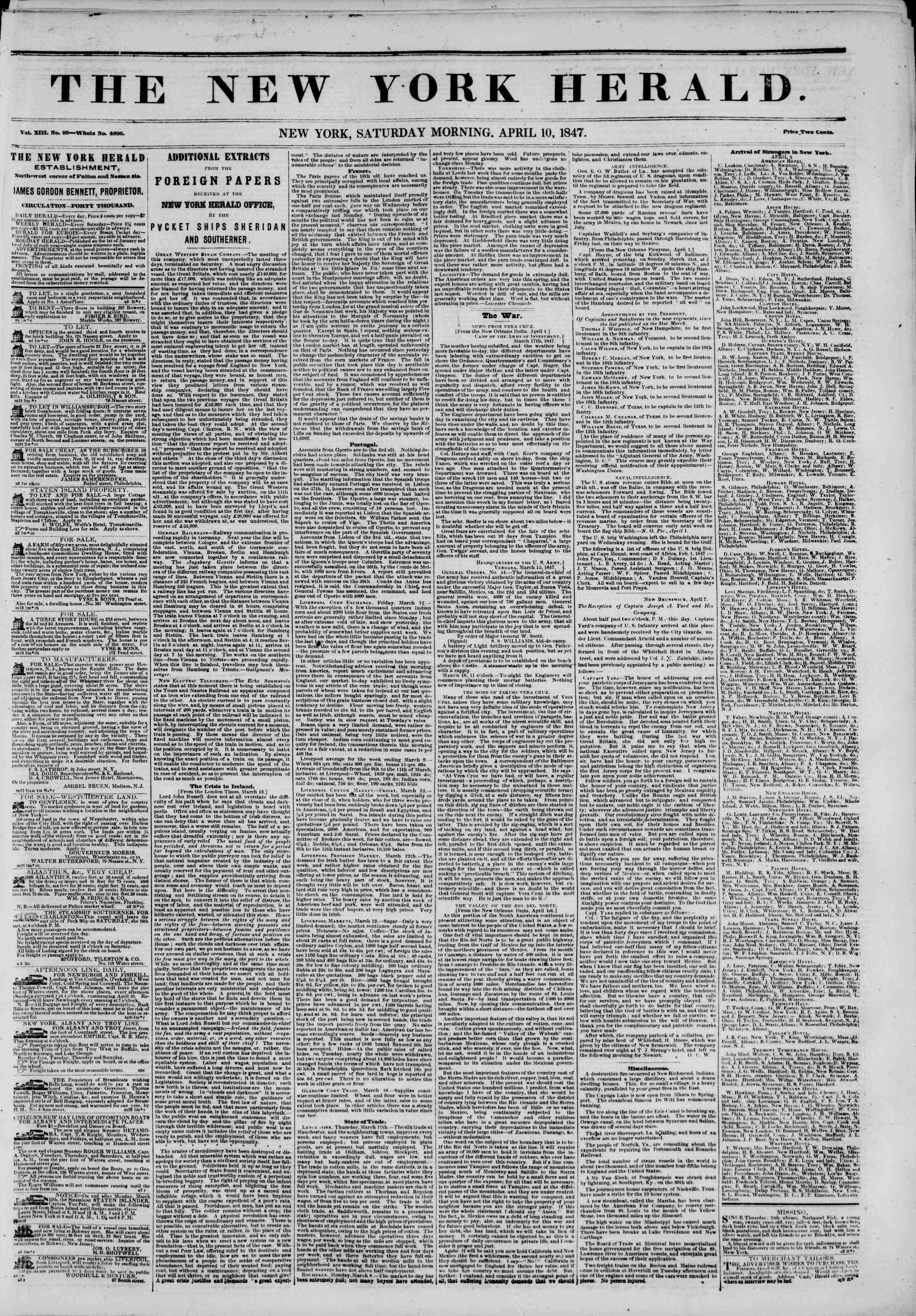 Newspaper of The New York Herald dated 10 Nisan 1847 Page 1