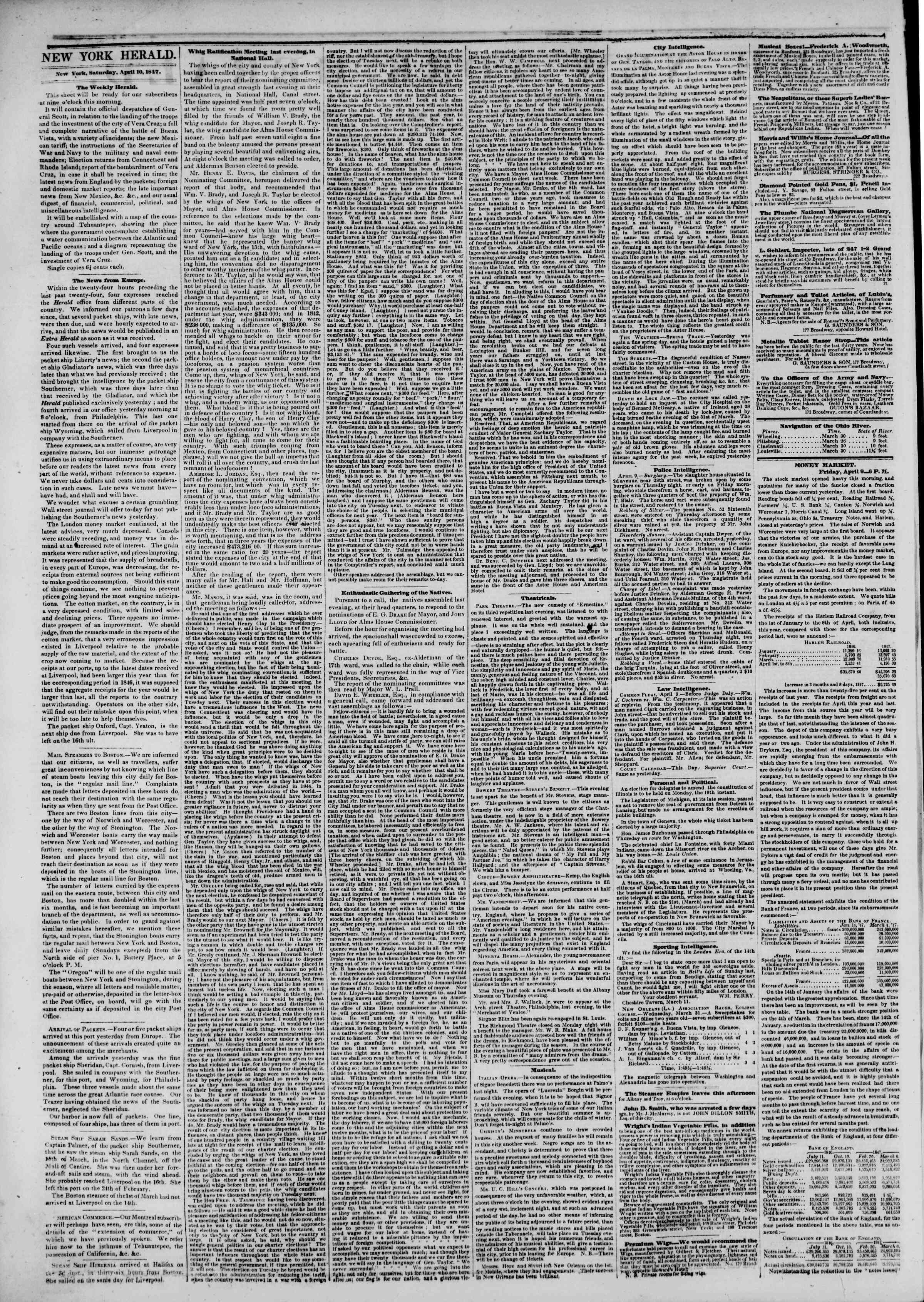 Newspaper of The New York Herald dated April 10, 1847 Page 2