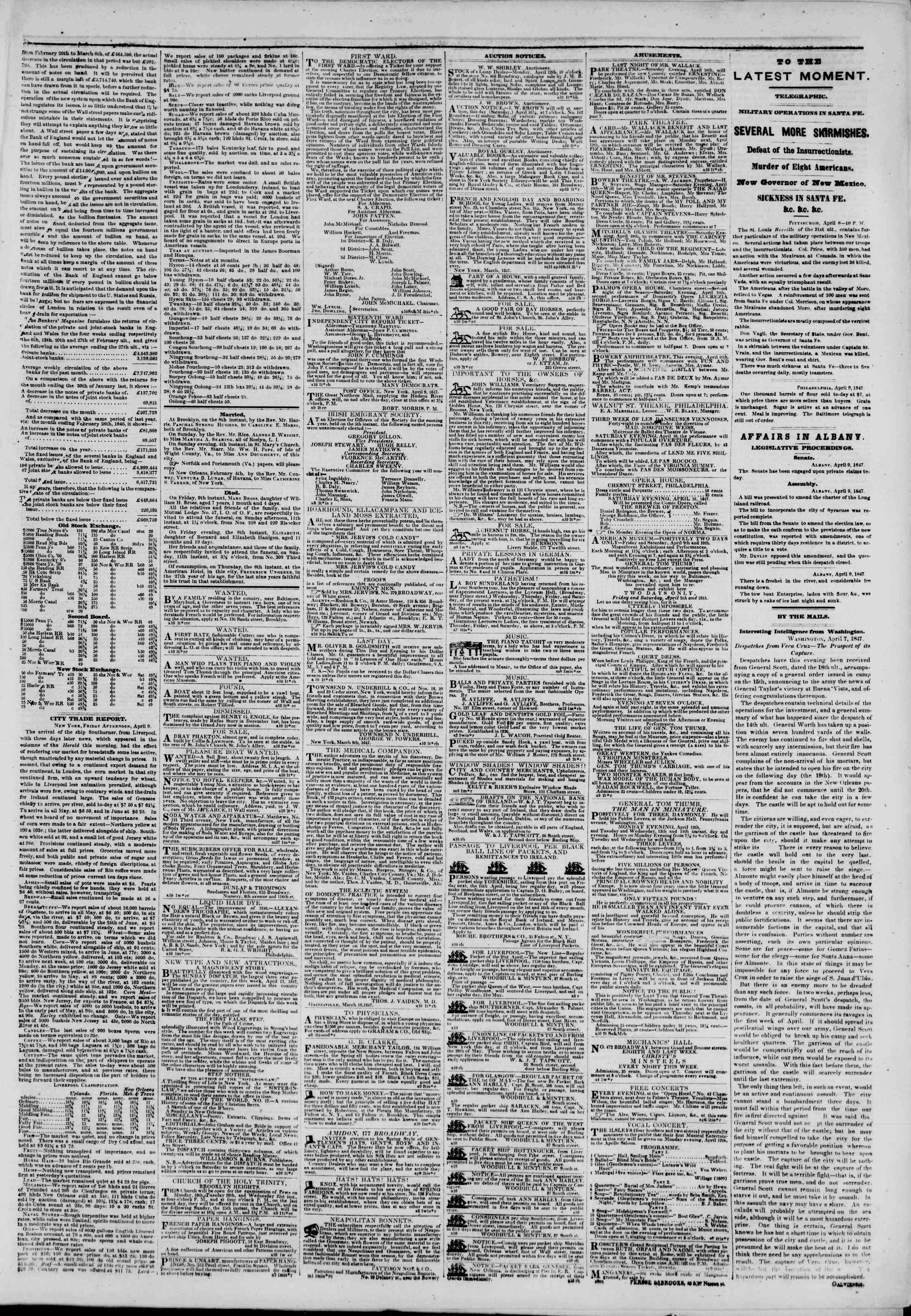 Newspaper of The New York Herald dated April 10, 1847 Page 3