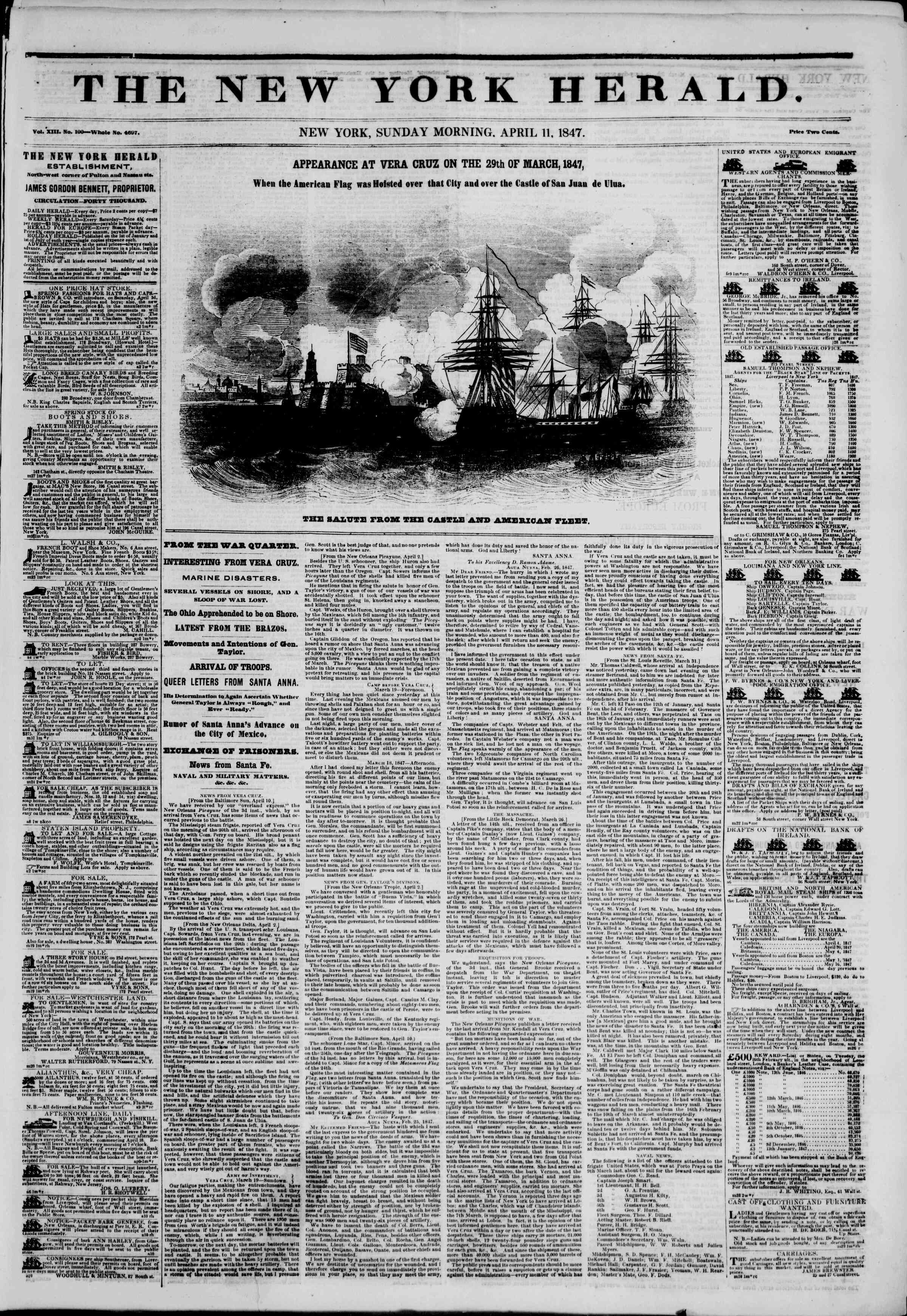 Newspaper of The New York Herald dated April 11, 1847 Page 1