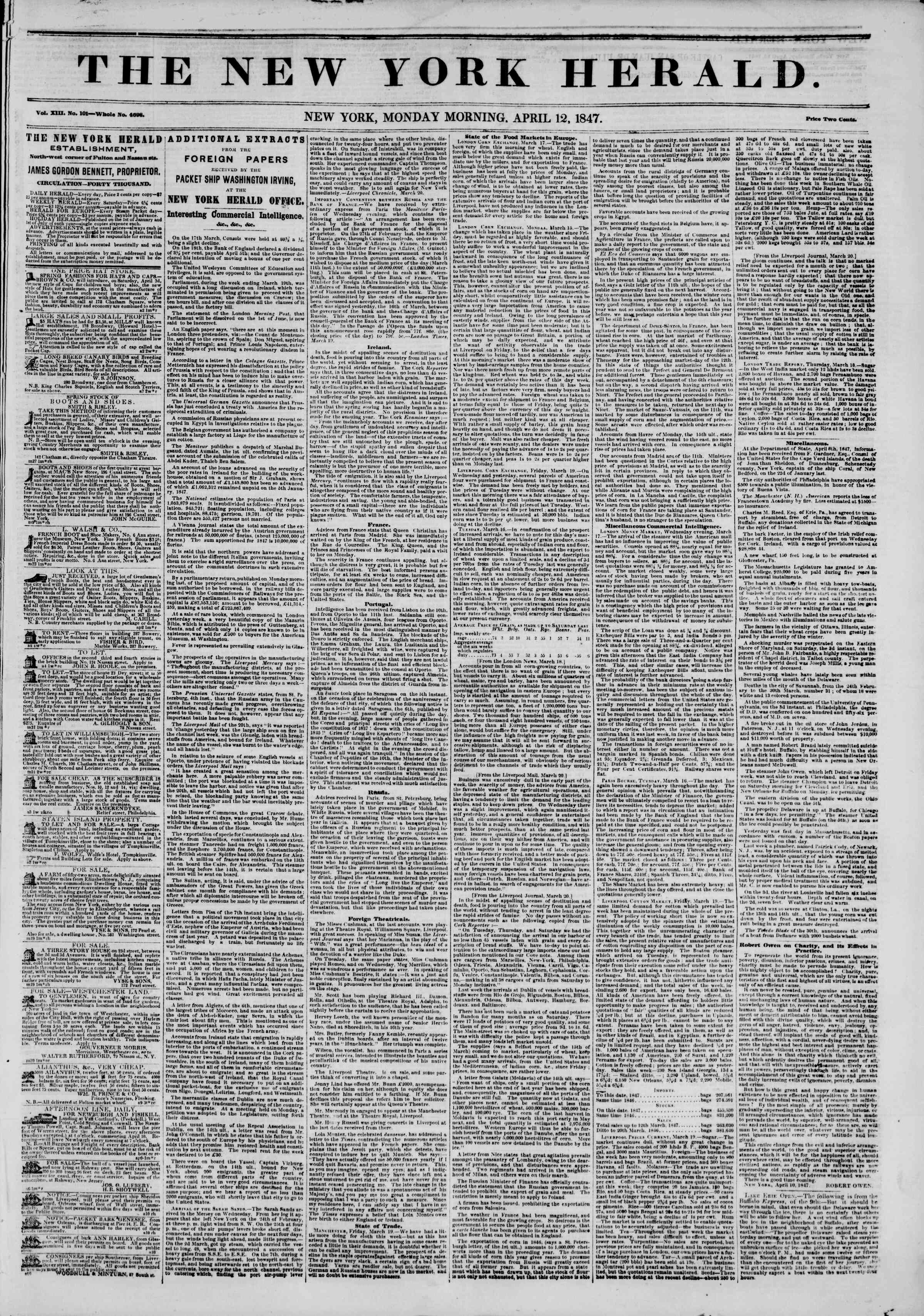 Newspaper of The New York Herald dated April 12, 1847 Page 1