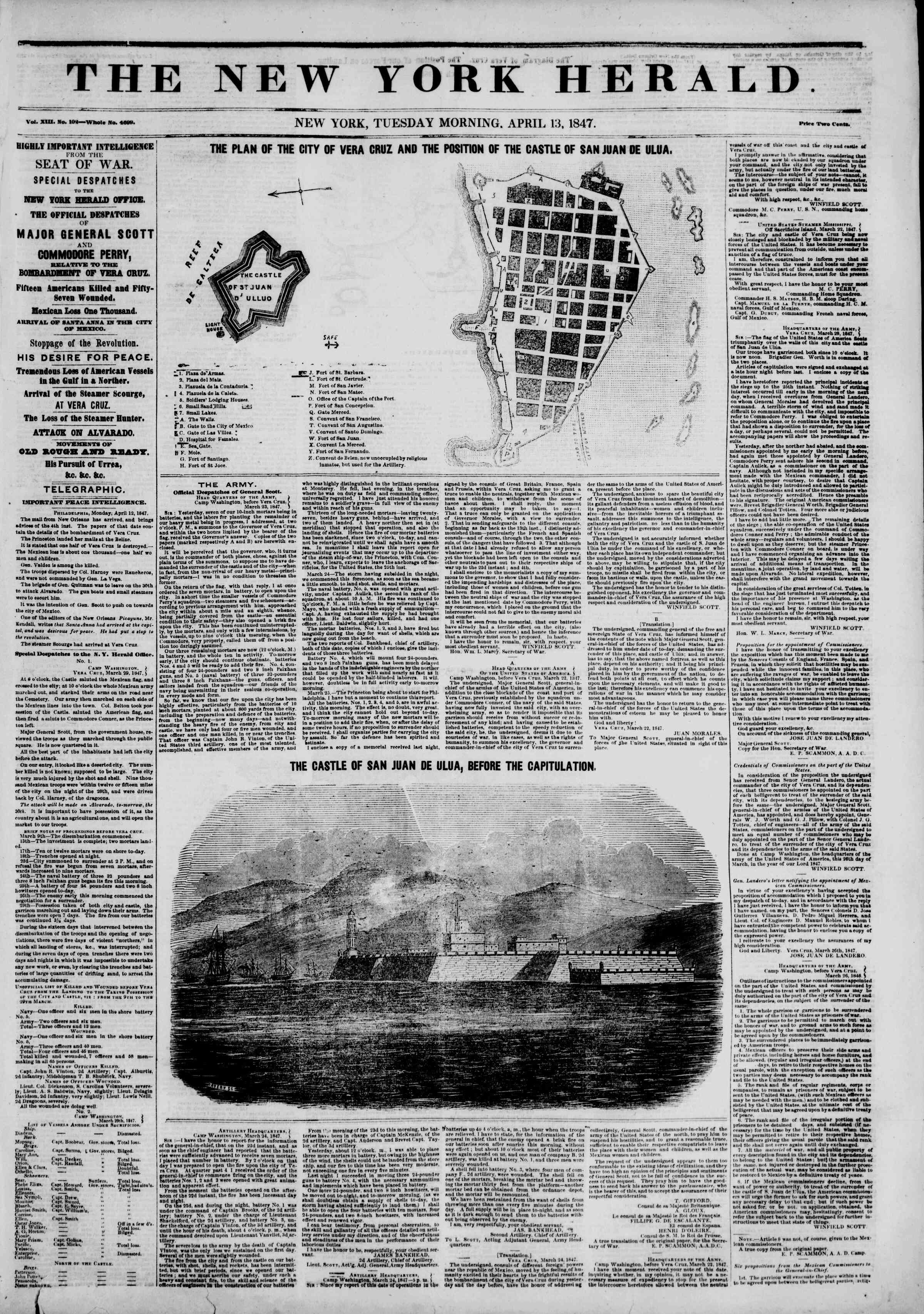 Newspaper of The New York Herald dated April 13, 1847 Page 1