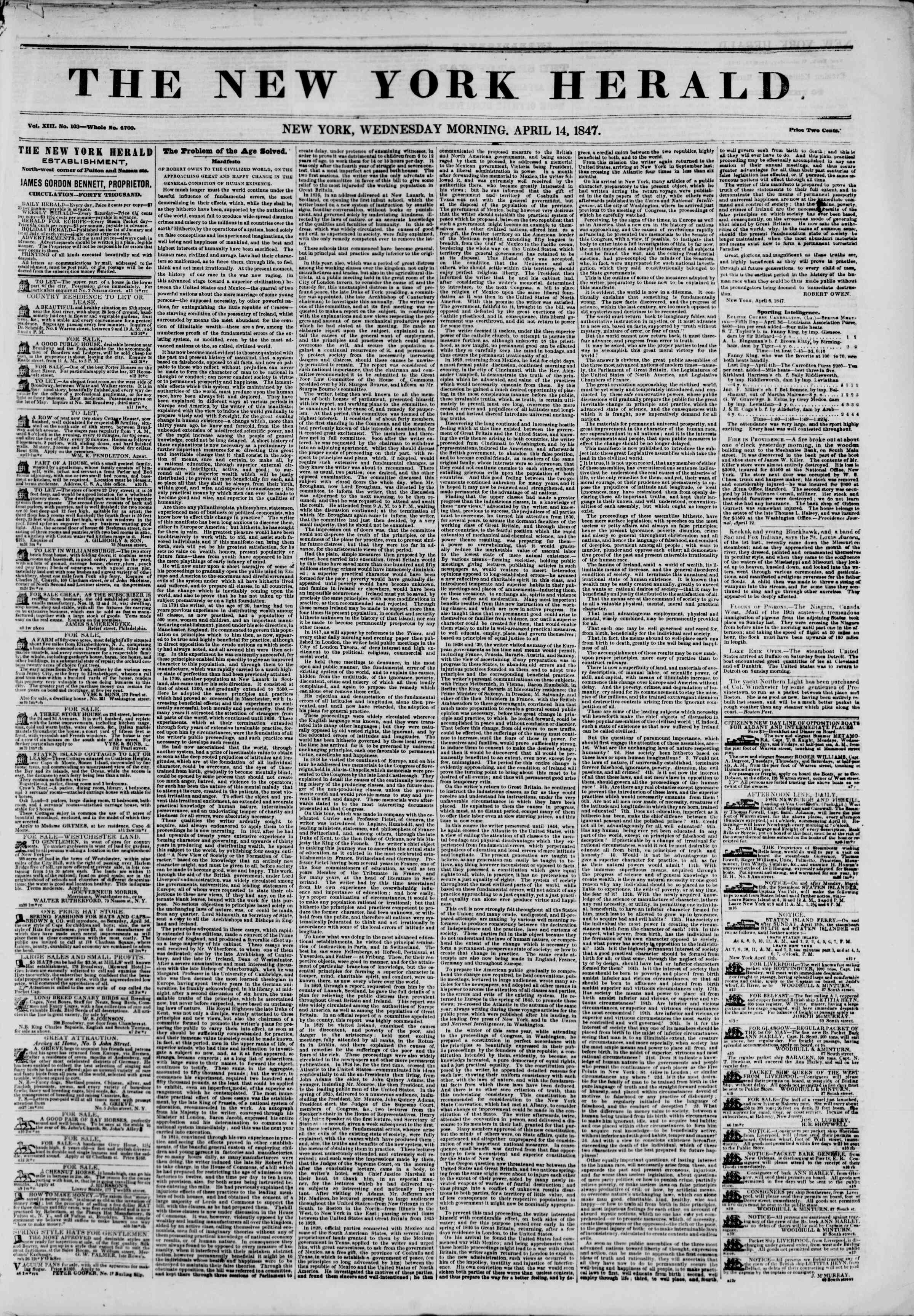Newspaper of The New York Herald dated April 14, 1847 Page 1