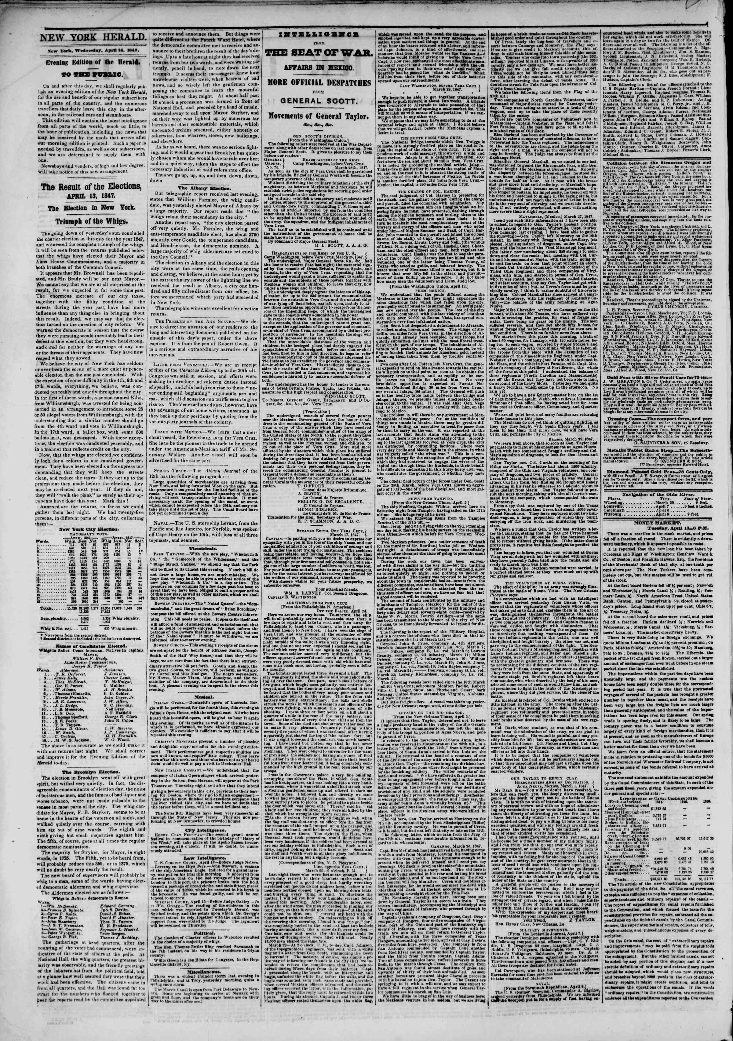 Newspaper of The New York Herald dated April 14, 1847 Page 2
