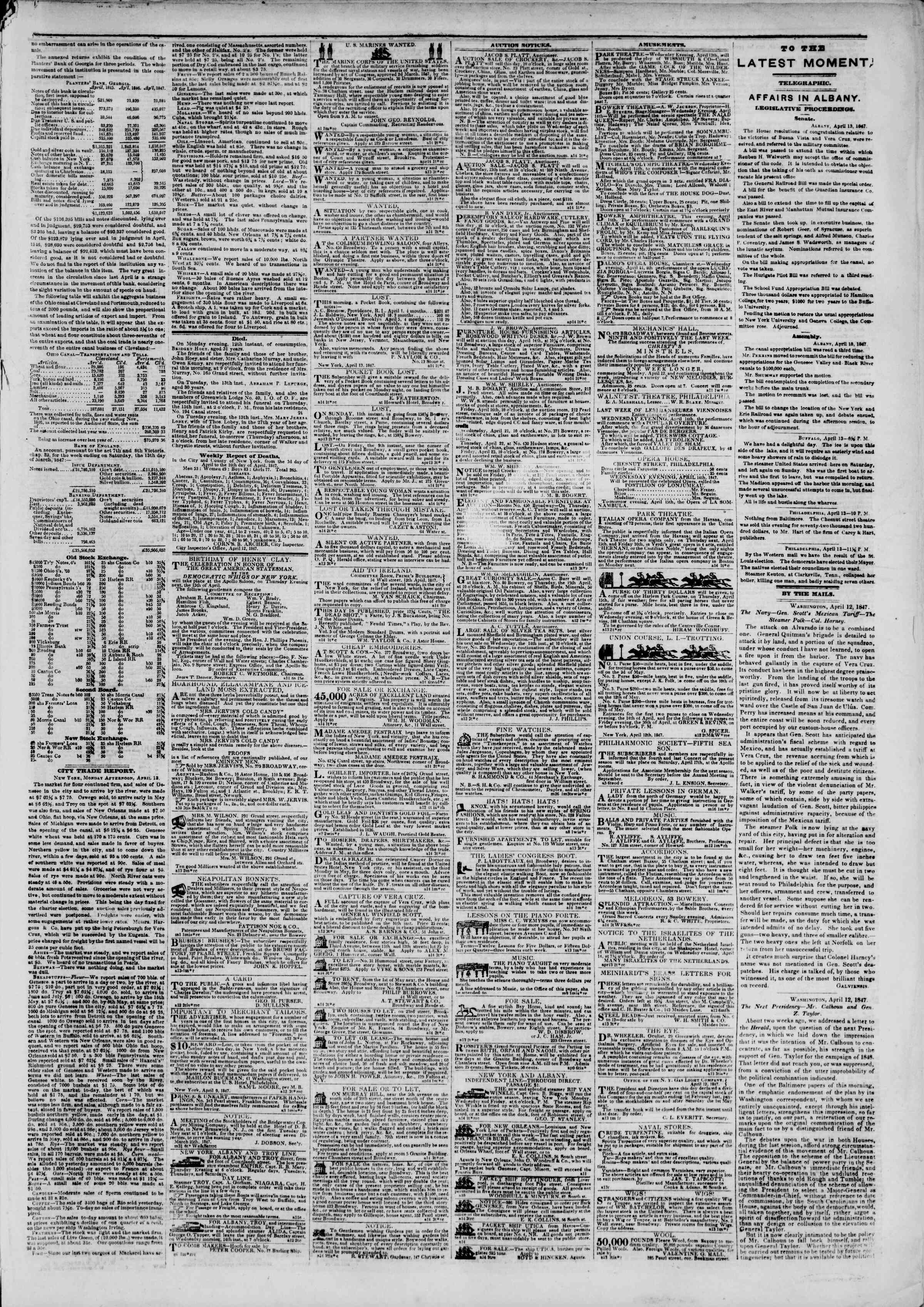 Newspaper of The New York Herald dated April 14, 1847 Page 3