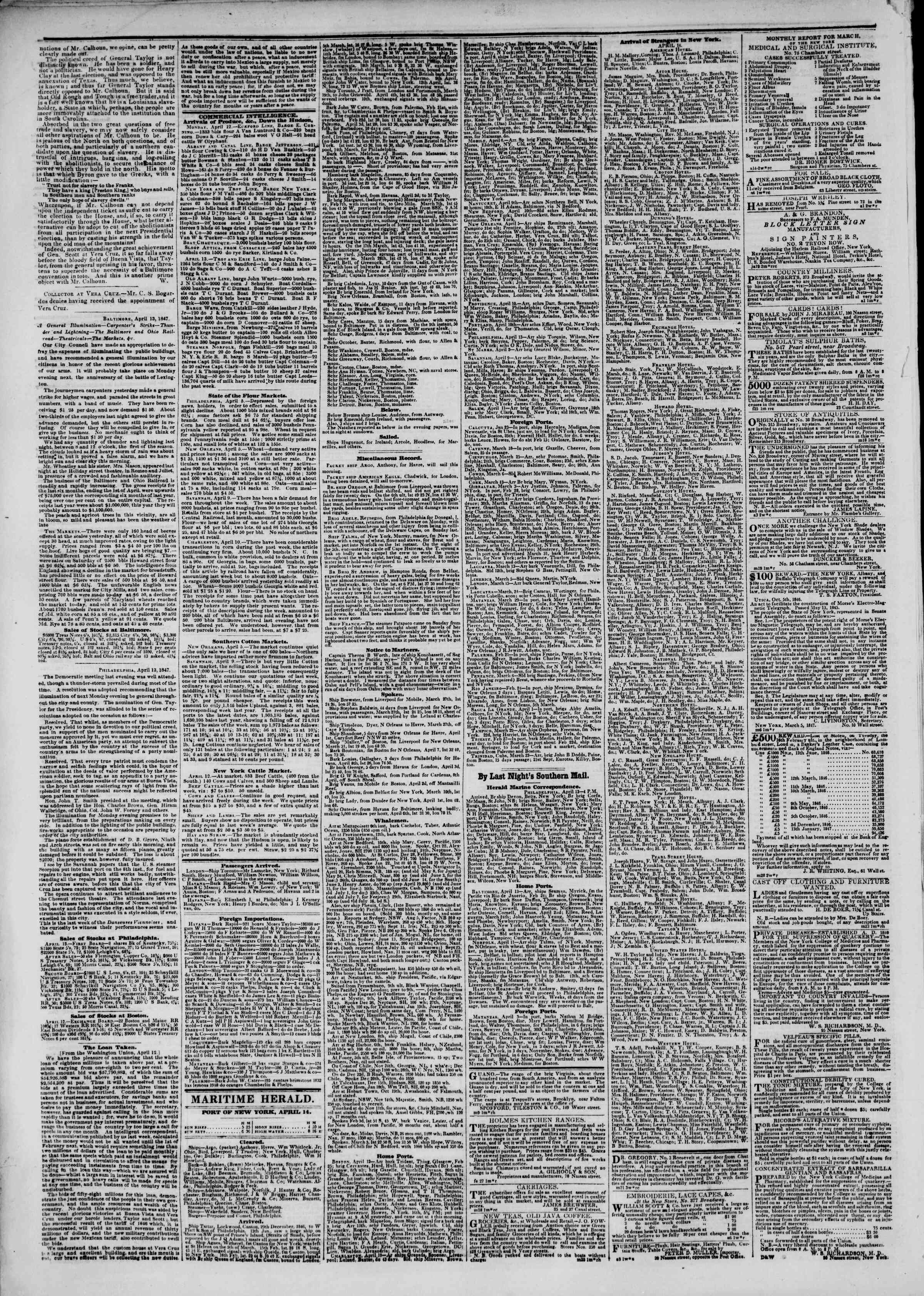Newspaper of The New York Herald dated April 15, 1847 Page 2