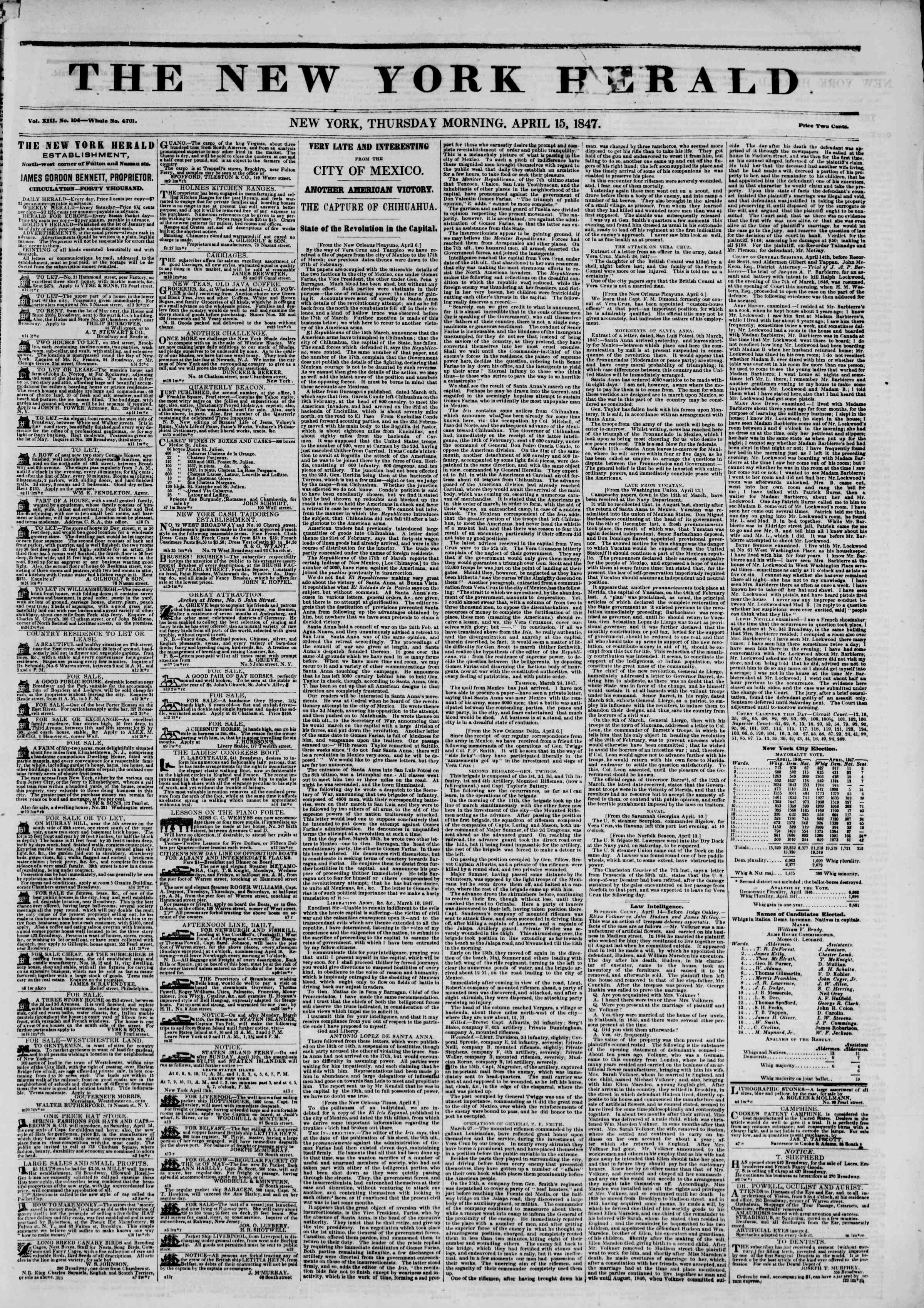 Newspaper of The New York Herald dated April 15, 1847 Page 3