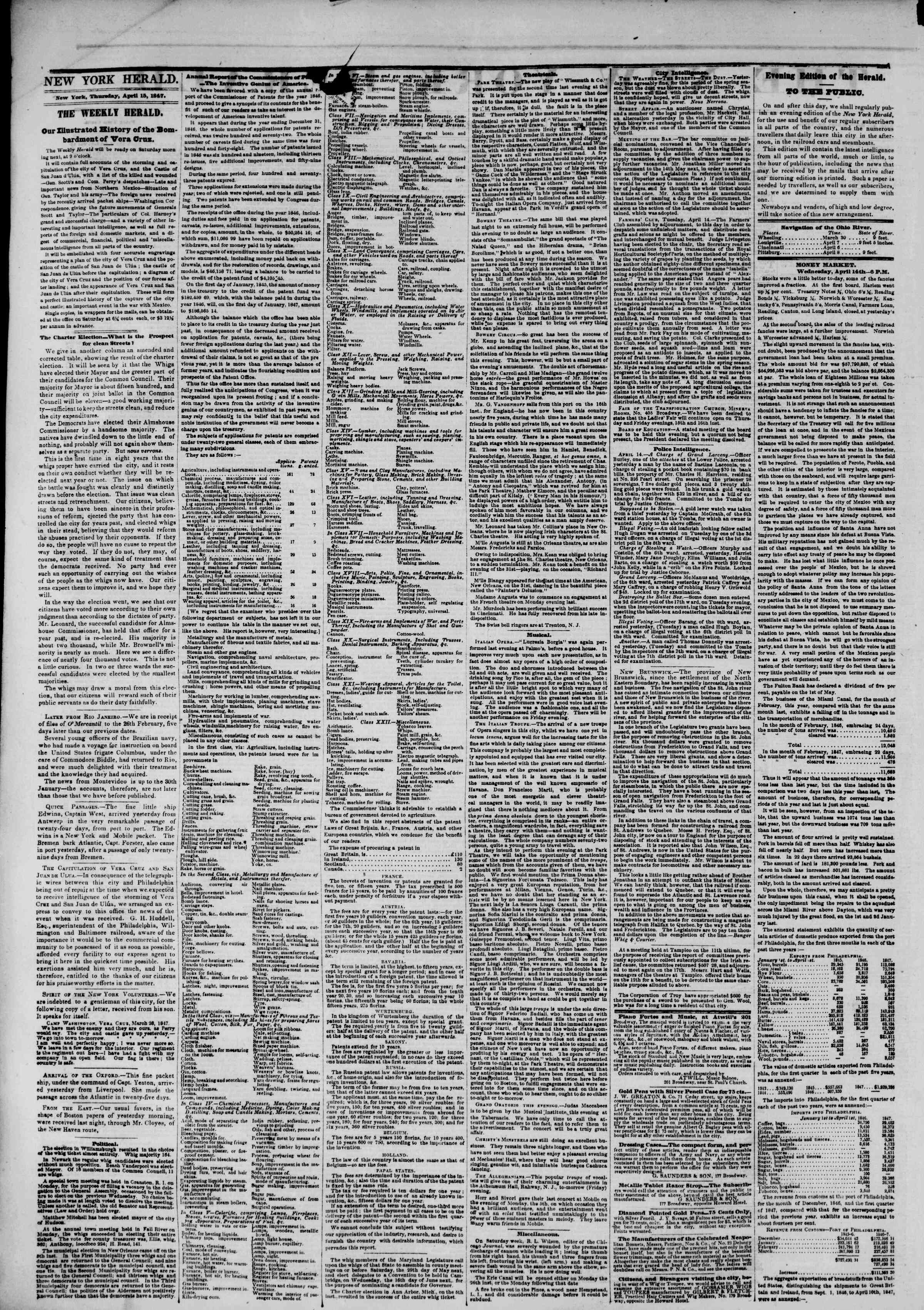 Newspaper of The New York Herald dated April 15, 1847 Page 4